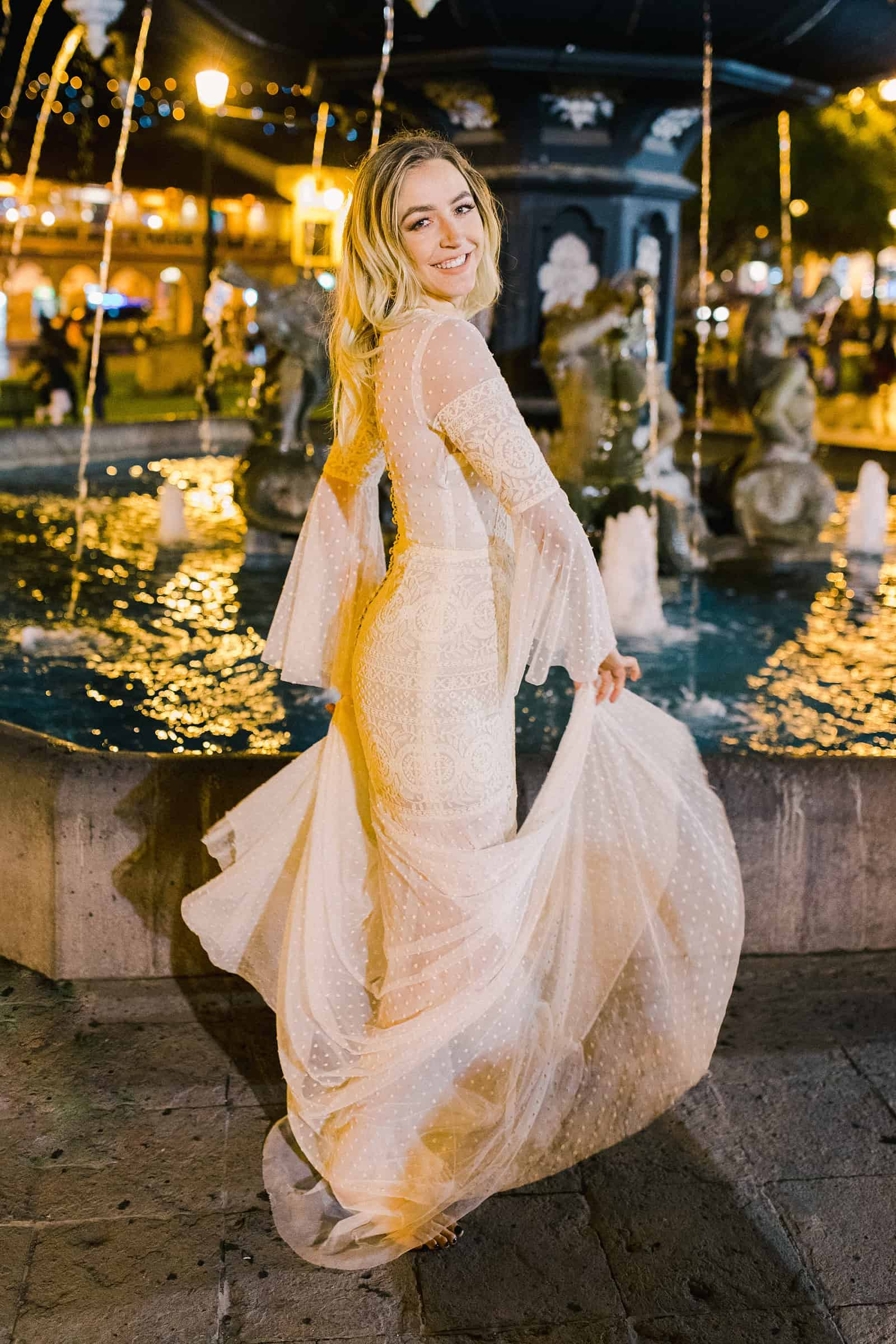 Cusco Peru Destination Wedding Inspiration, travel photography, bride dances at Plaza de Armas at night