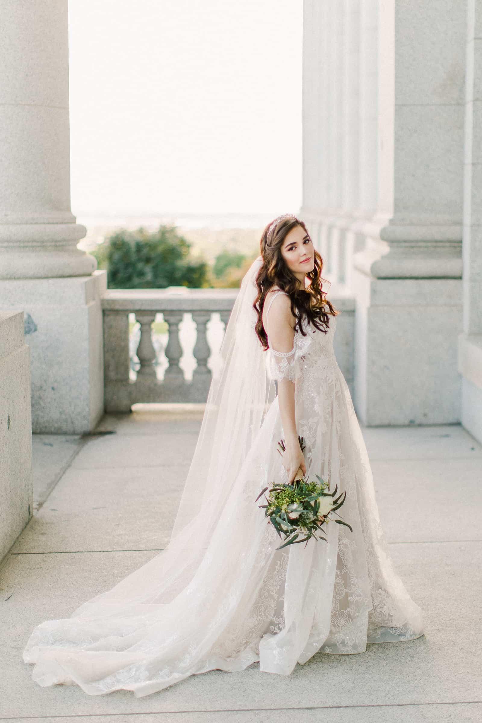Palestinian Iranian Bride and Groom, Utah Wedding Photography at the Utah State Capitol, beautiful bride boho lace dress