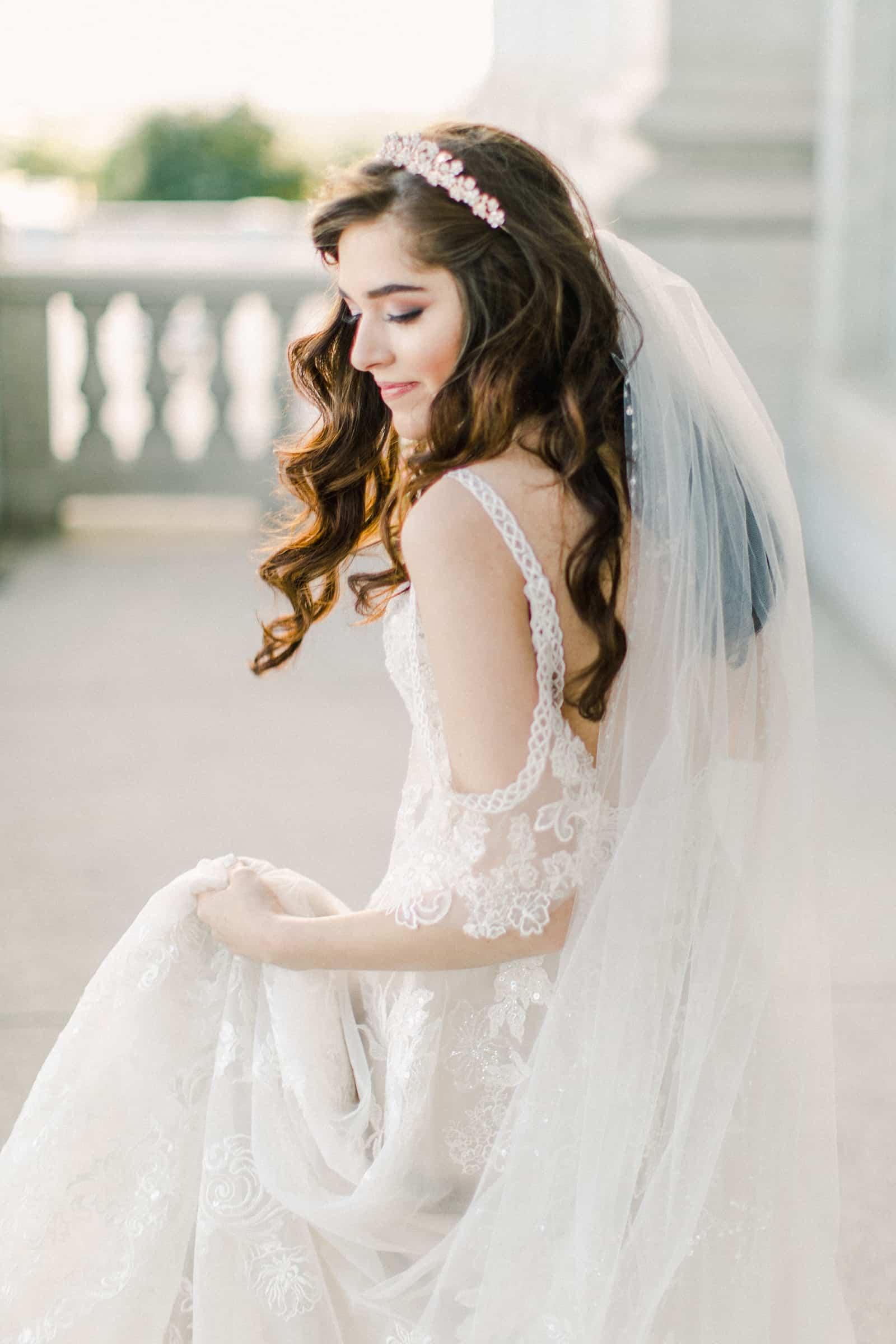 Palestinian Iranian Bride and Groom, Utah Wedding Photography at the Utah State Capitol, beautiful bride lace dress long veil