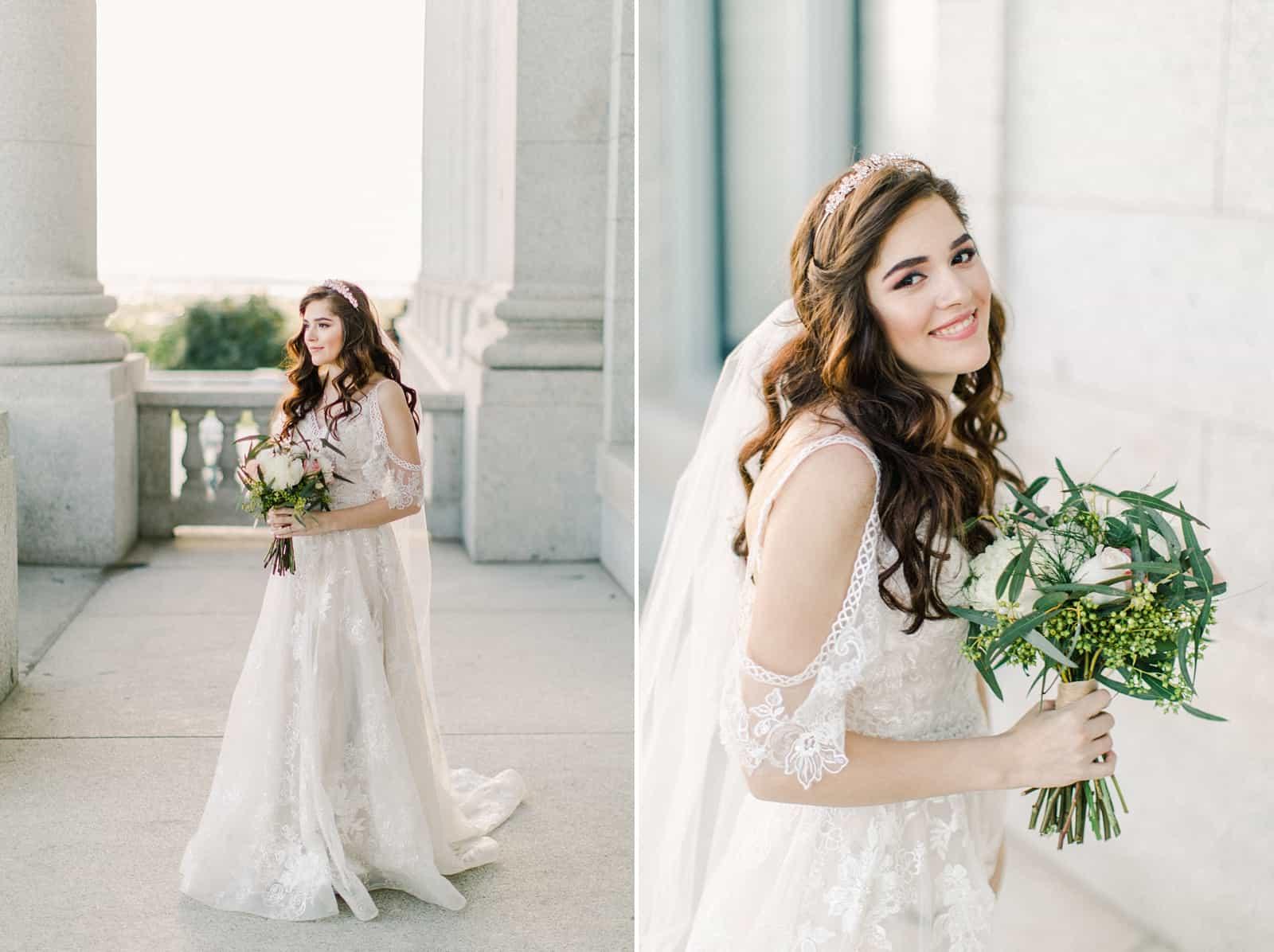Palestinian Iranian Bride and Groom, Utah Wedding Photography at the Utah State Capitol, beautiful bride boho lace wedding dress