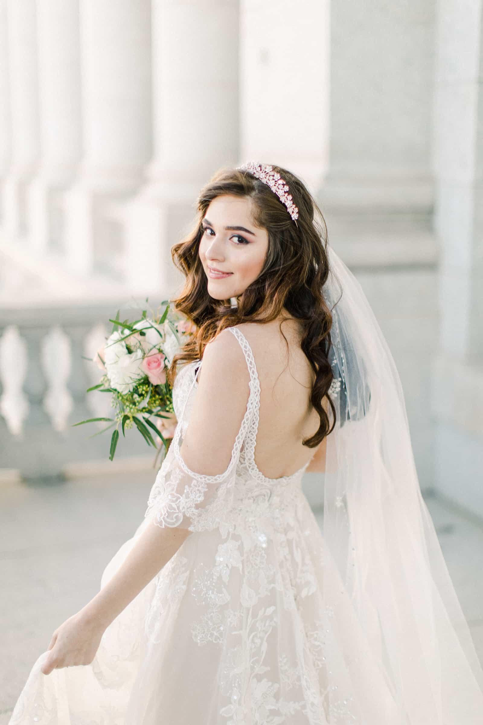 Palestinian Iranian Bride and Groom, Utah Wedding Photography at the Utah State Capitol, beautiful bride lace dress long veil jeweled headpiece