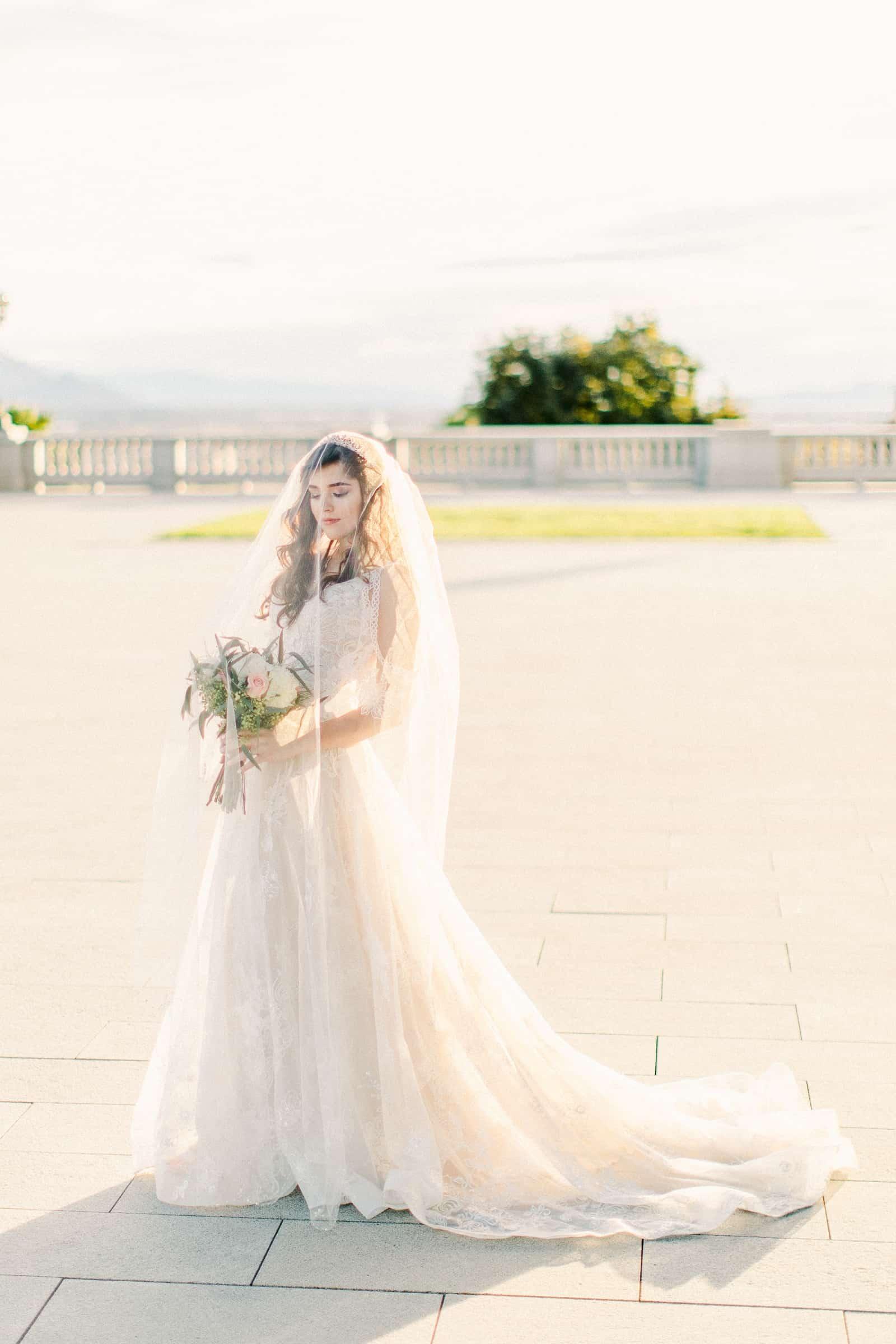 Palestinian Iranian Bride and Groom, Utah Wedding Photography at the Utah State Capitol, beautiful bride boho lace wedding dress sunset light