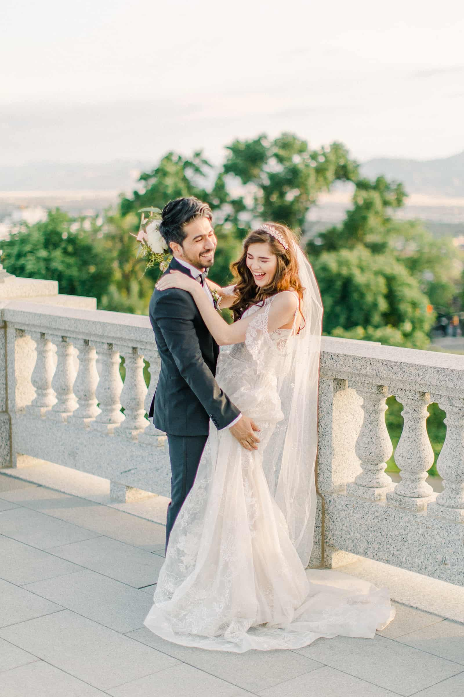 Palestinian Iranian Bride and Groom, Utah Wedding Photography at the Utah State Capitol sunset light