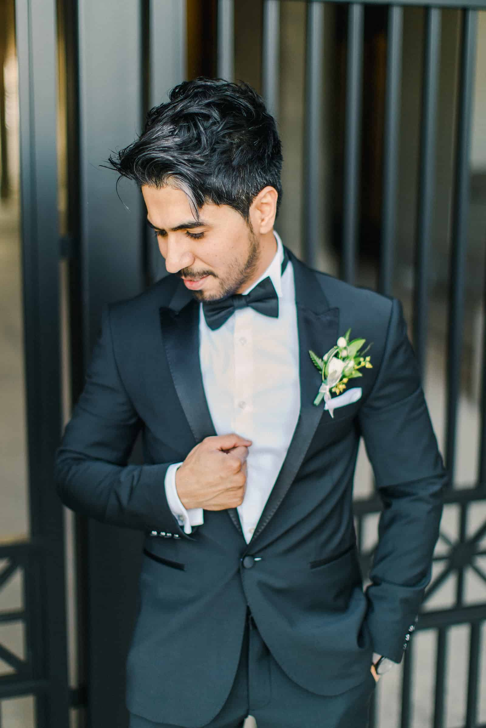 Palestinian Iranian Bride and Groom, Utah Wedding Photography at the Utah State Capitol, groom in classic black tux and black bow tie boutonniere