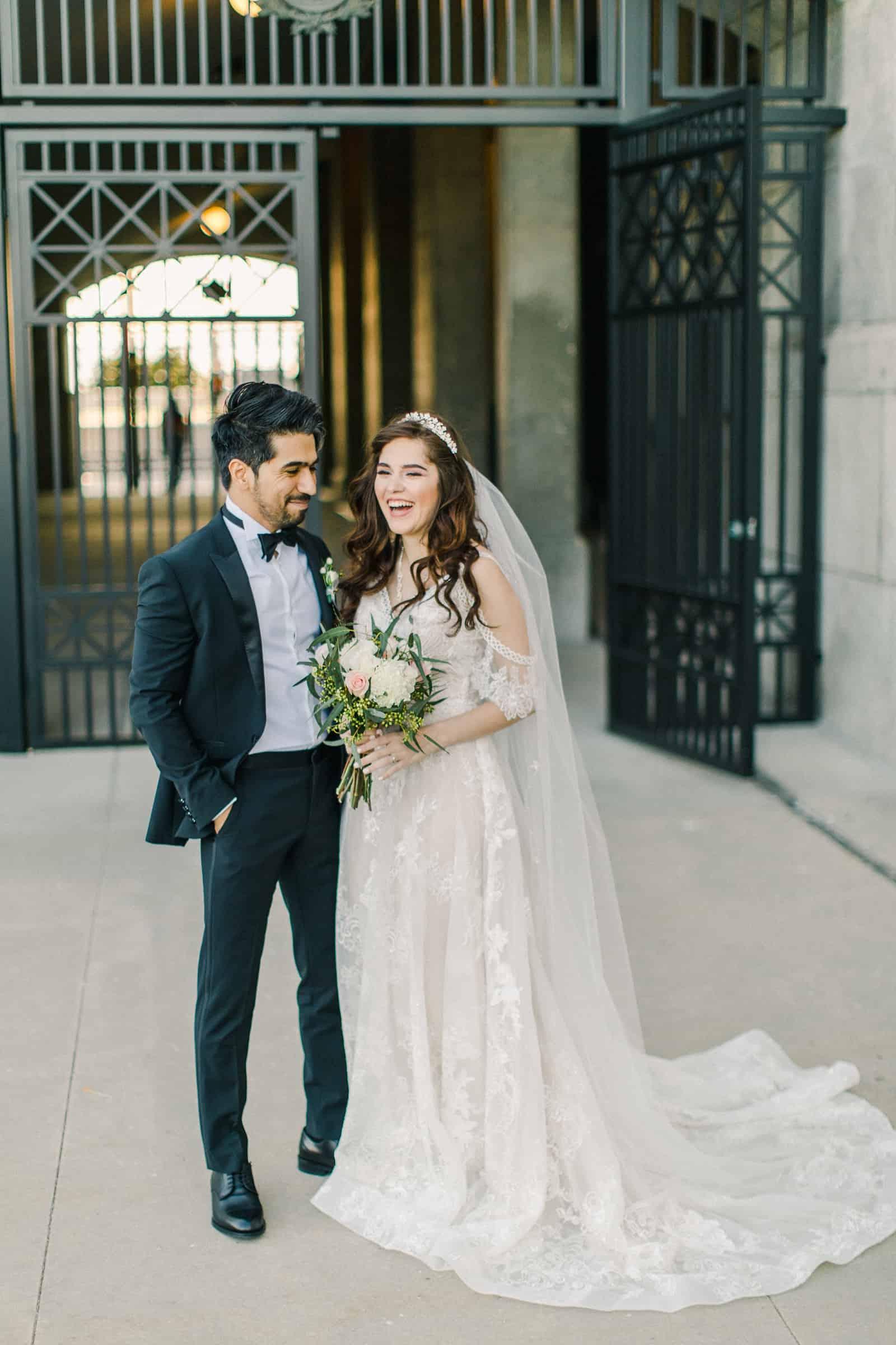Palestinian Iranian Bride and Groom, Utah Wedding Photography at the Utah State Capitol, travel destination wedding photographer, bride laughing
