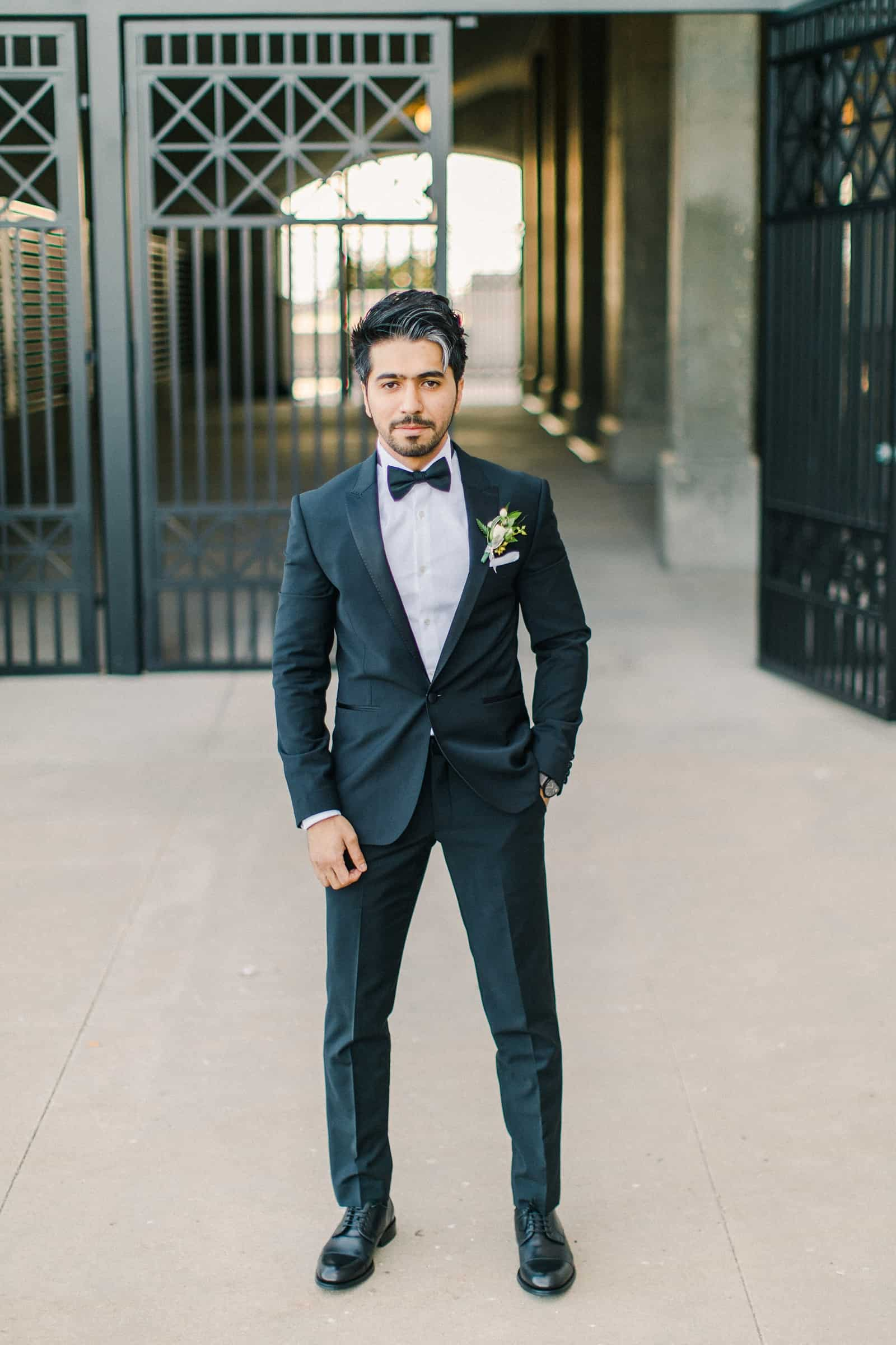 Palestinian Iranian Bride and Groom, Utah Wedding Photography at the Utah State Capitol, groom in classic black tux and black bow tie