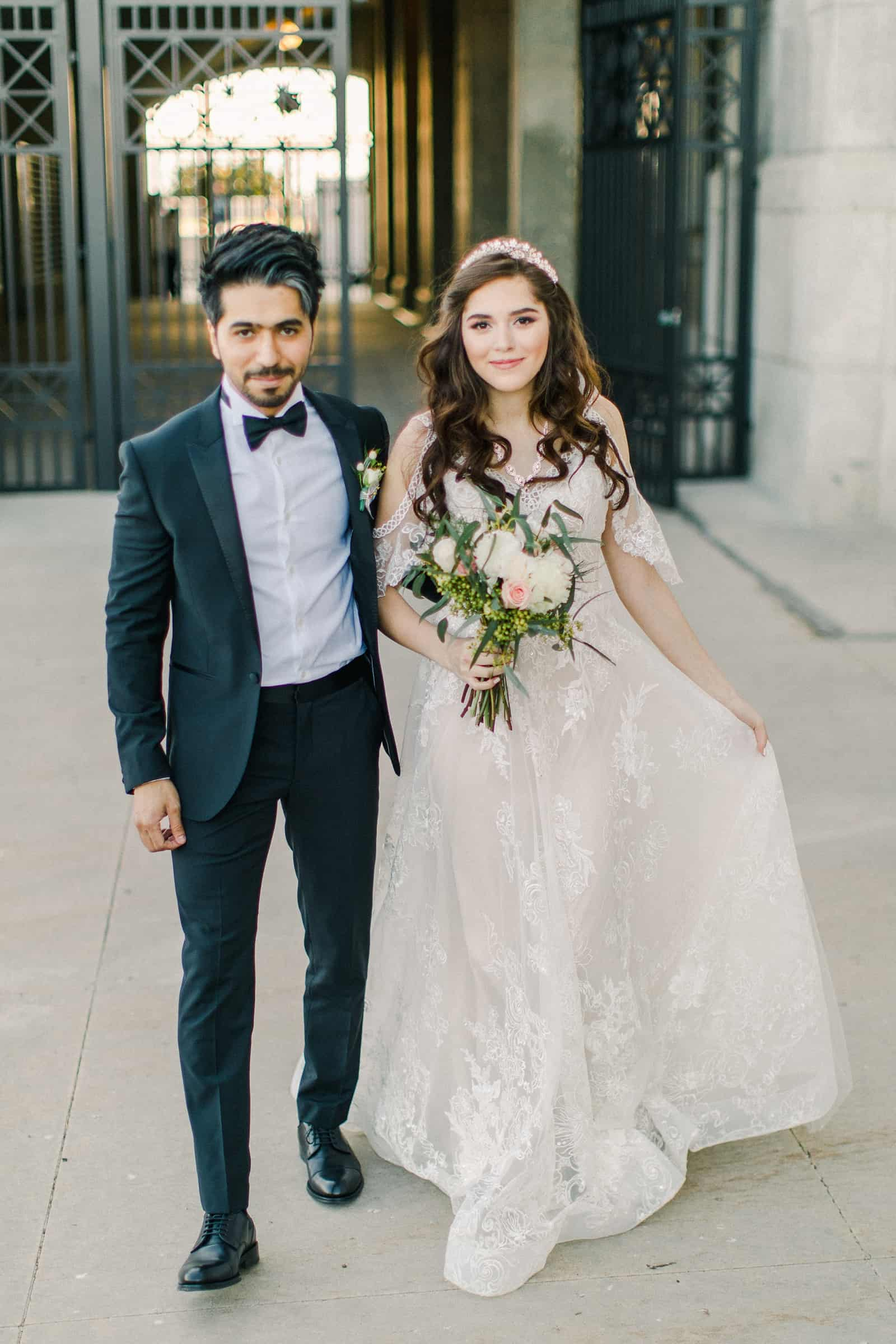 Palestinian Iranian Bride and Groom, Utah Wedding Photography at the Utah State Capitol, travel destination wedding photographer, bride in boho lace Middle Eastern wedding dress