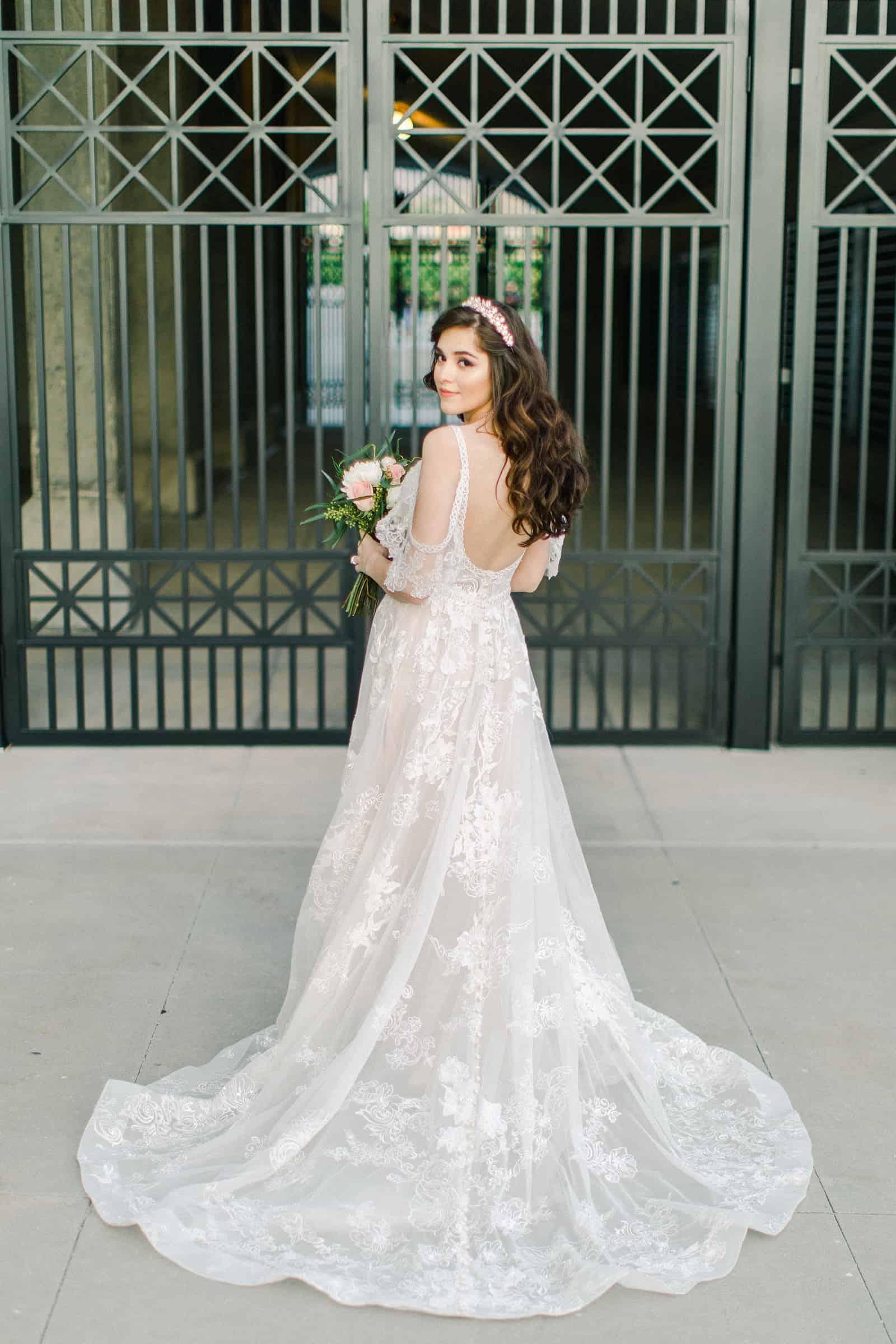 Palestinian Iranian Bride and Groom, Utah Wedding Photography at the Utah State Capitol, beautiful bride low back boho lace wedding dress