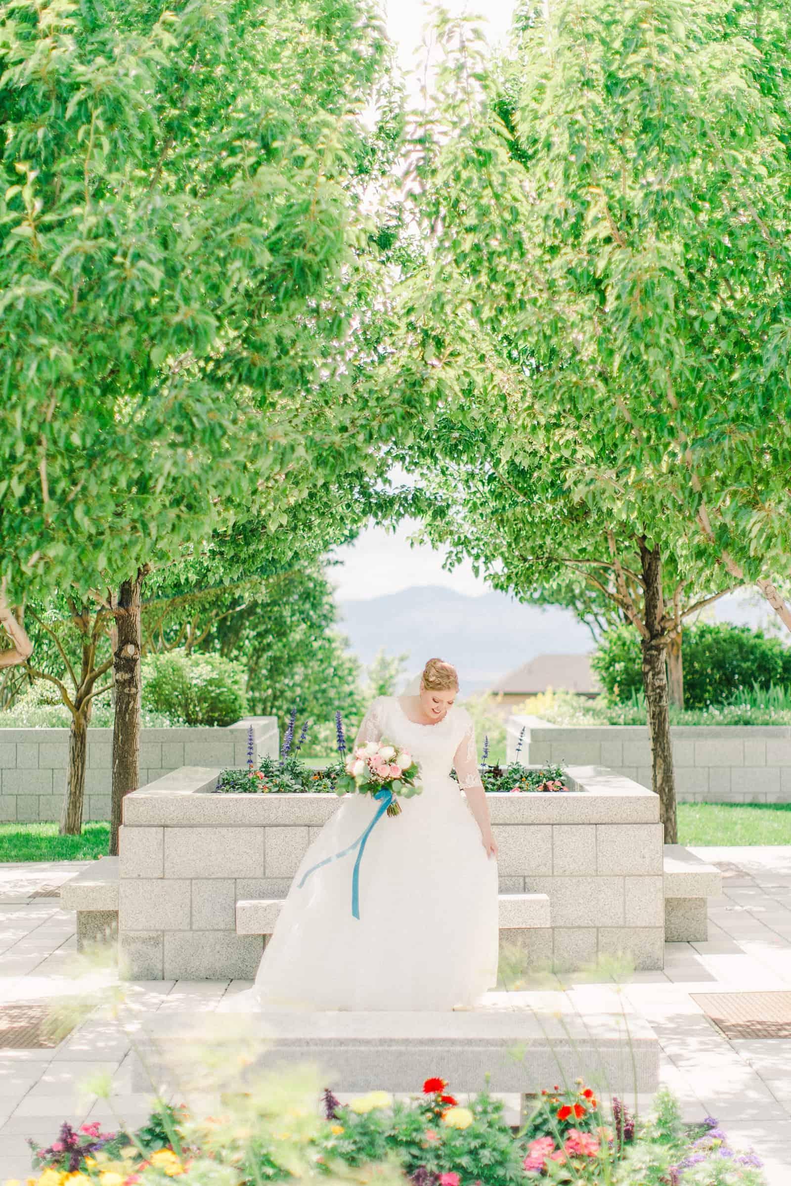 Draper LDS Temple Wedding, Utah wedding photography, summer backyard wedding, modest lace wedding dress with long train