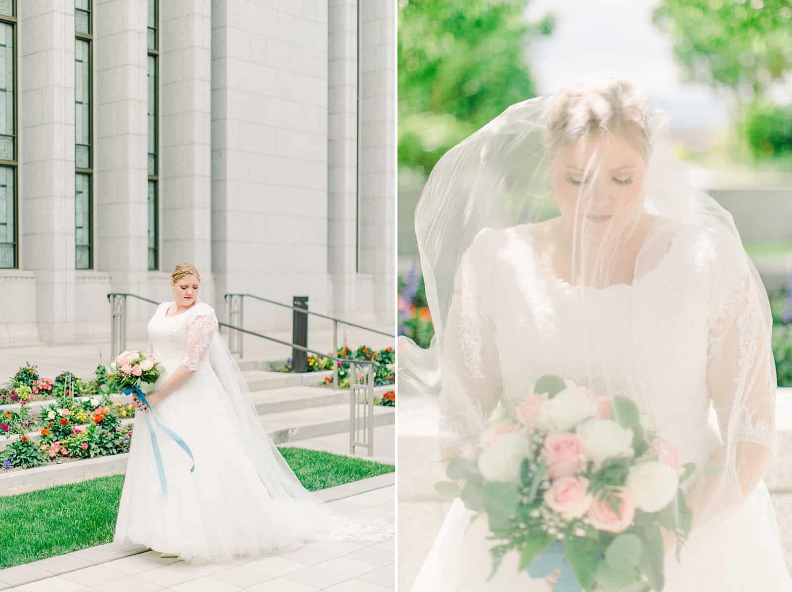 Draper LDS Temple Wedding, Utah wedding photography, summer backyard wedding, modest lace wedding dress with long train and veil