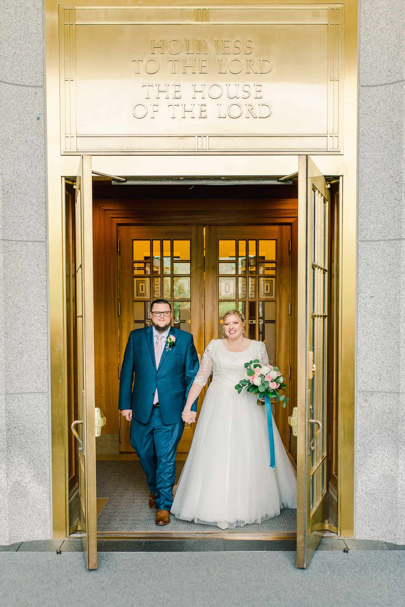 Draper LDS Temple Wedding, Utah wedding photography, summer backyard wedding, bride and groom exit gold doors