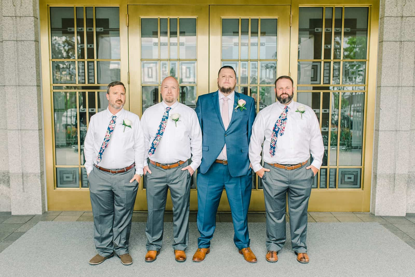 Draper LDS Temple Wedding, Utah wedding photography, summer backyard wedding, groom and groomsmen navy blue suit