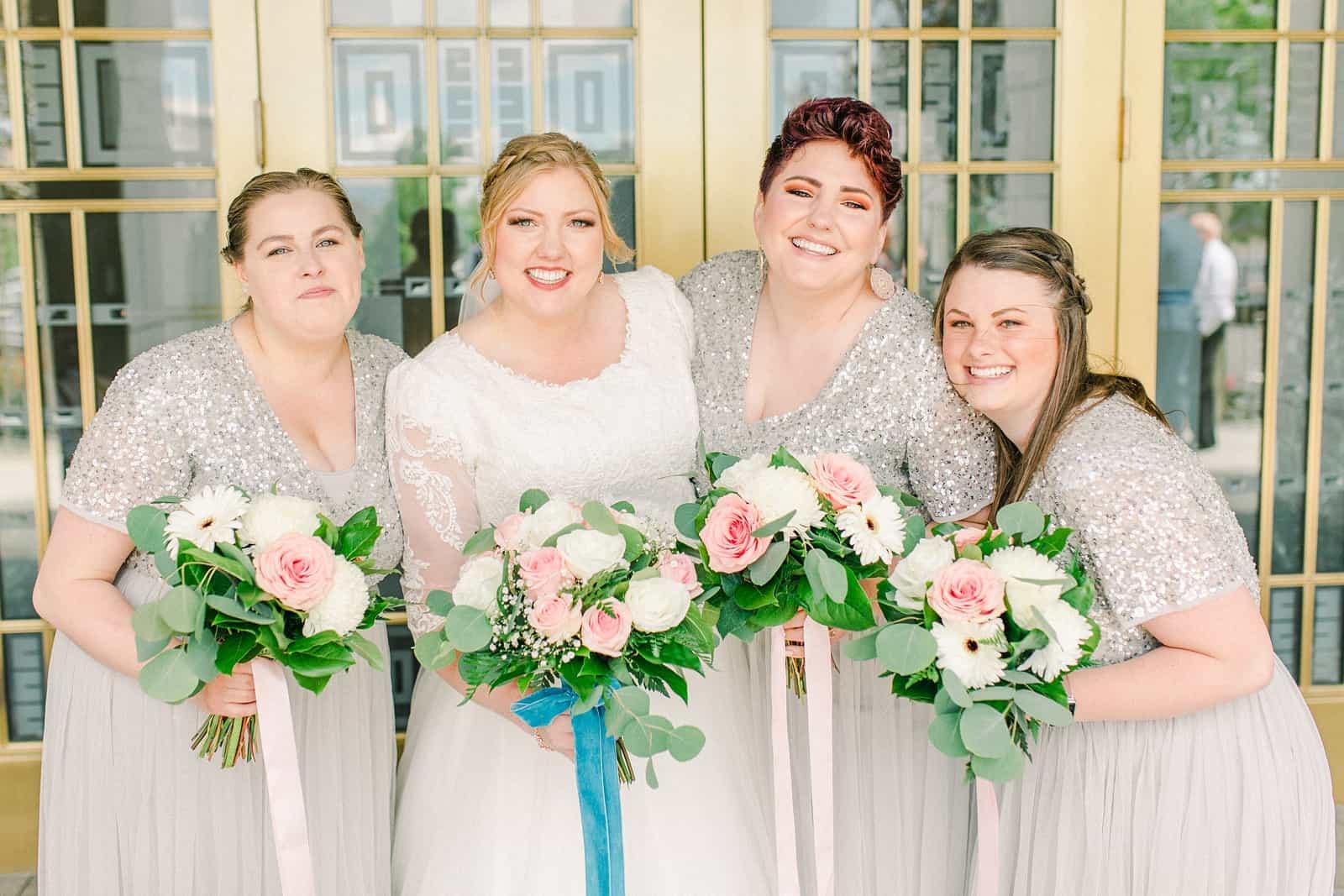 Draper LDS Temple Wedding, Utah wedding photography, summer backyard wedding, silver sequin gray bridesmaids dresses