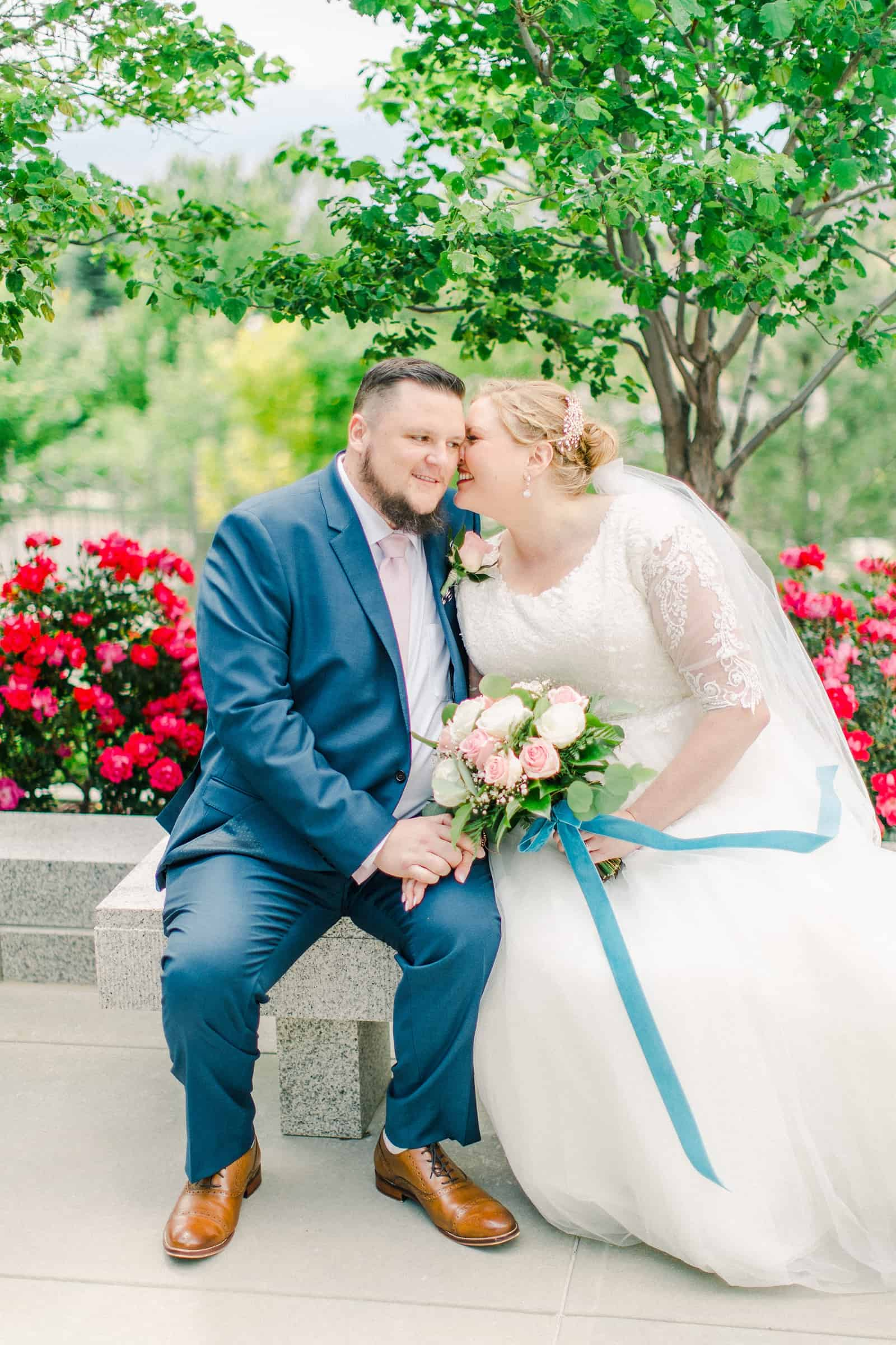 Draper LDS Temple Wedding, Utah wedding photography, summer backyard wedding, bride and groom, pink and rose bouquet with blue ribbon