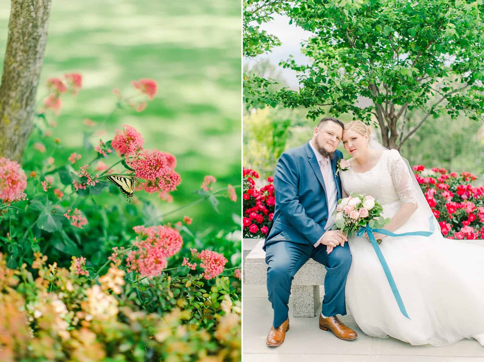 Draper LDS Temple Wedding, Utah wedding photography, summer backyard wedding, bride and groom, pink and rose bouquet with blue ribbon, flower butterfly