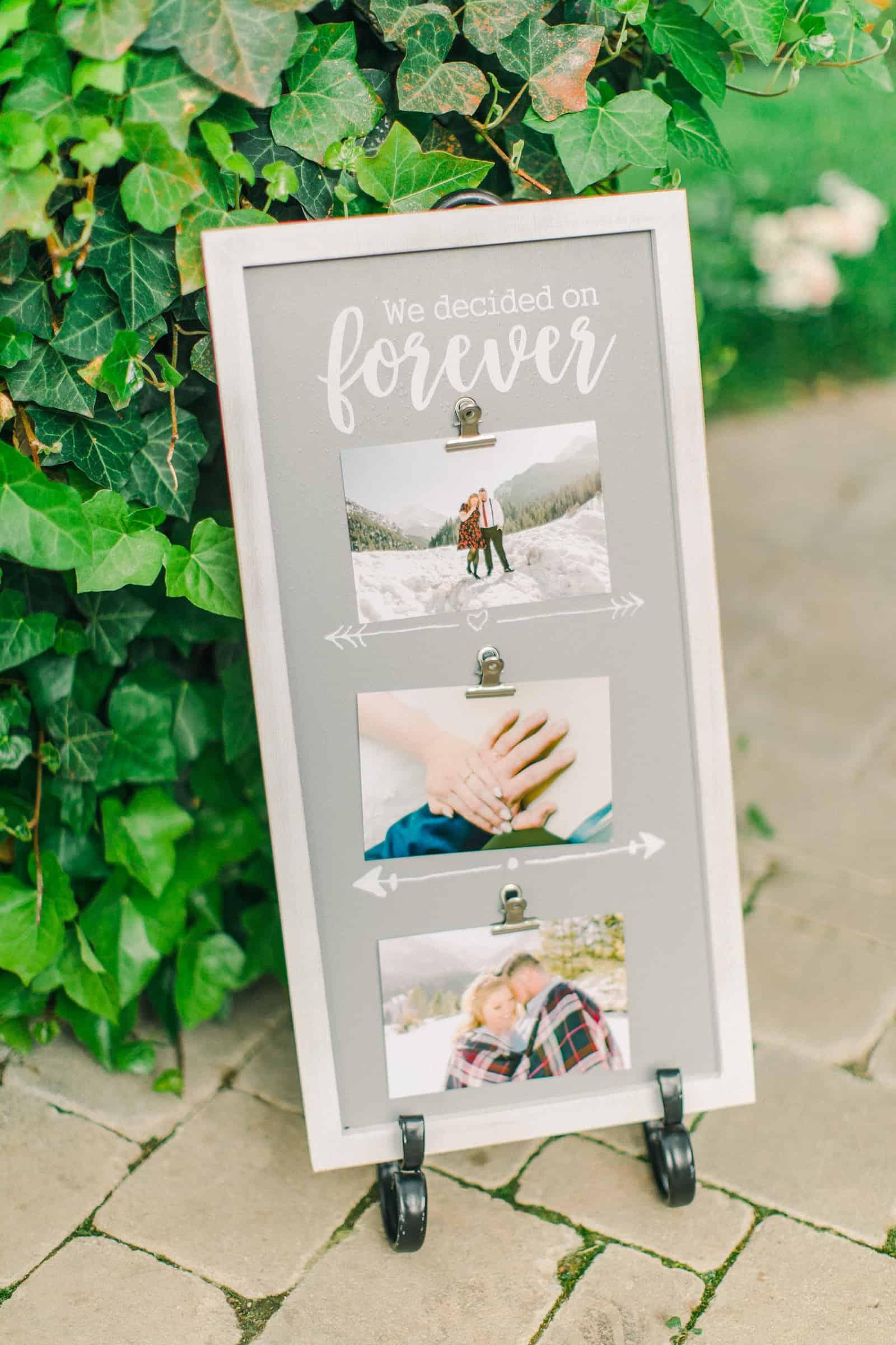 Draper LDS Temple Wedding, Utah wedding photography, summer backyard wedding, reception decor calligraphy sign we decided on forever
