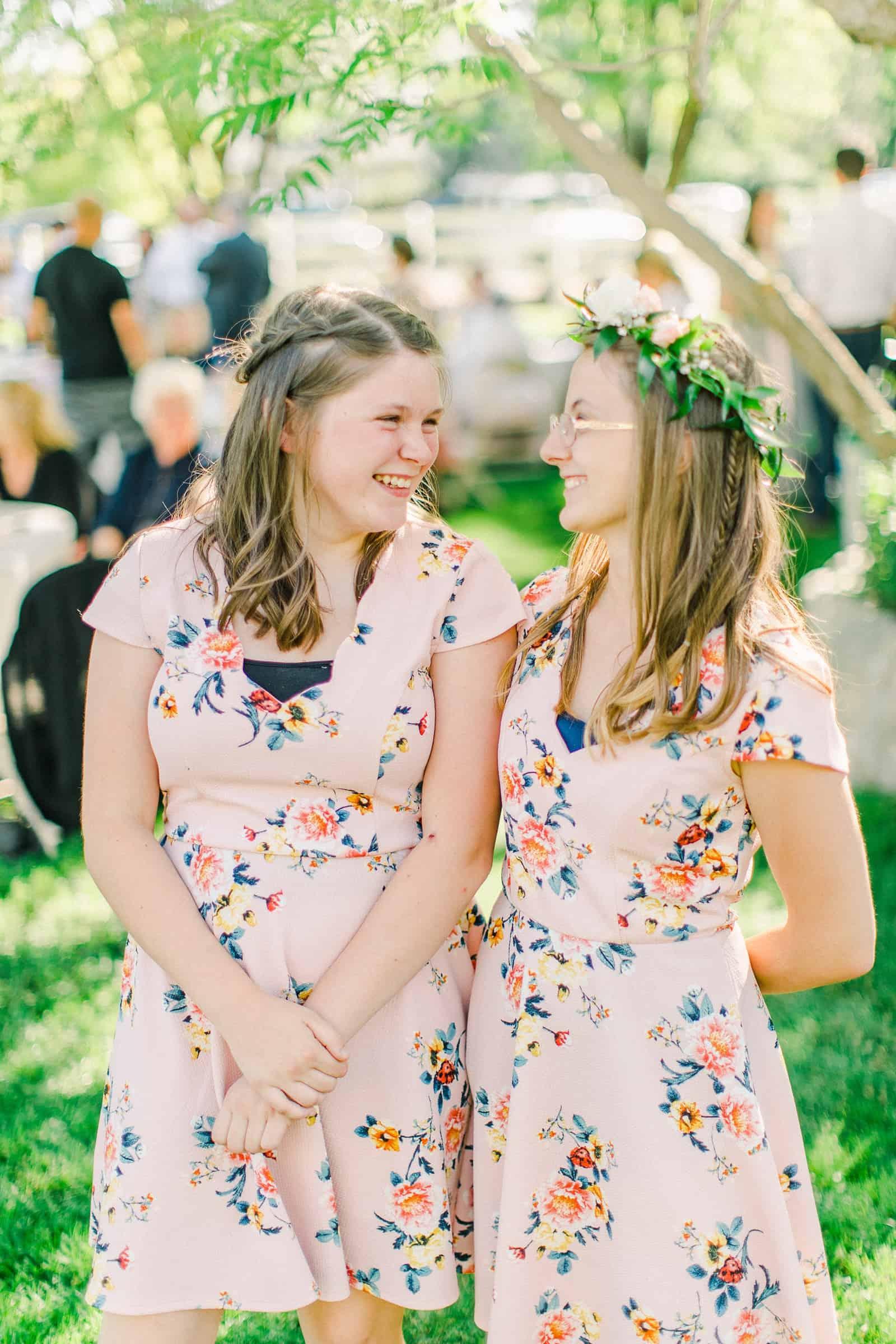 Draper LDS Temple Wedding, Utah wedding photography, summer backyard wedding, flower girl greenery crown
