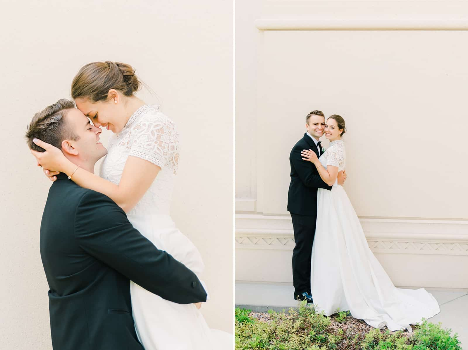 Payson Utah Temple wedding, bride and groom pose
