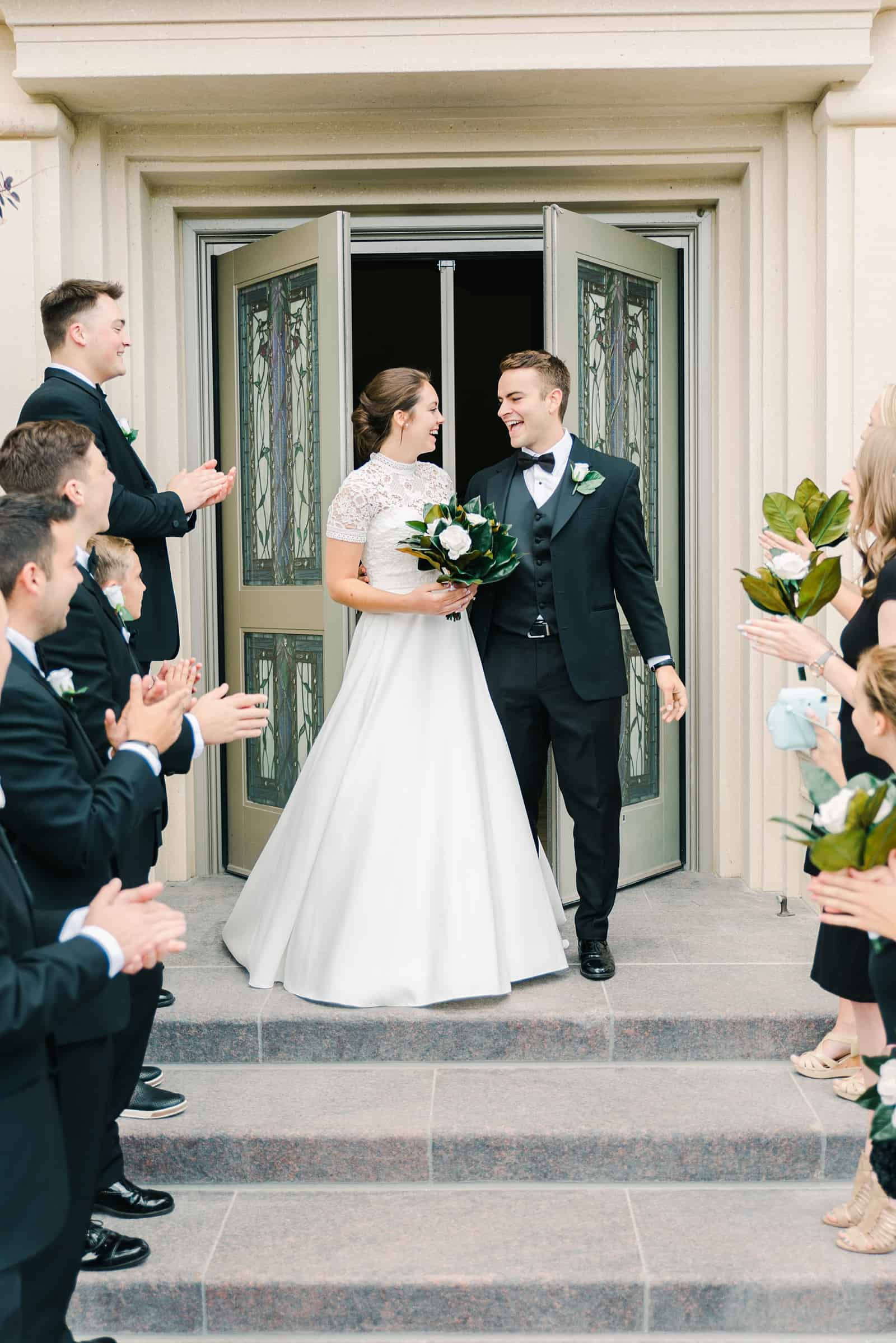 Payson Utah Temple wedding, bride and groom exit