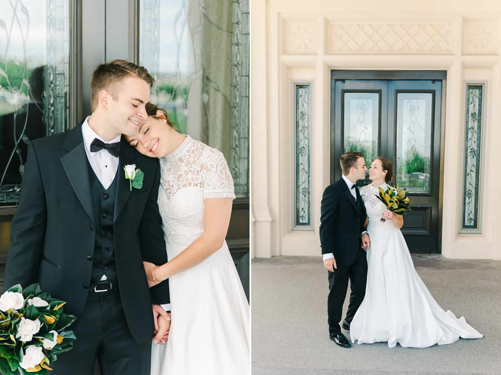 Payson Utah Temple wedding, bride and groom poses