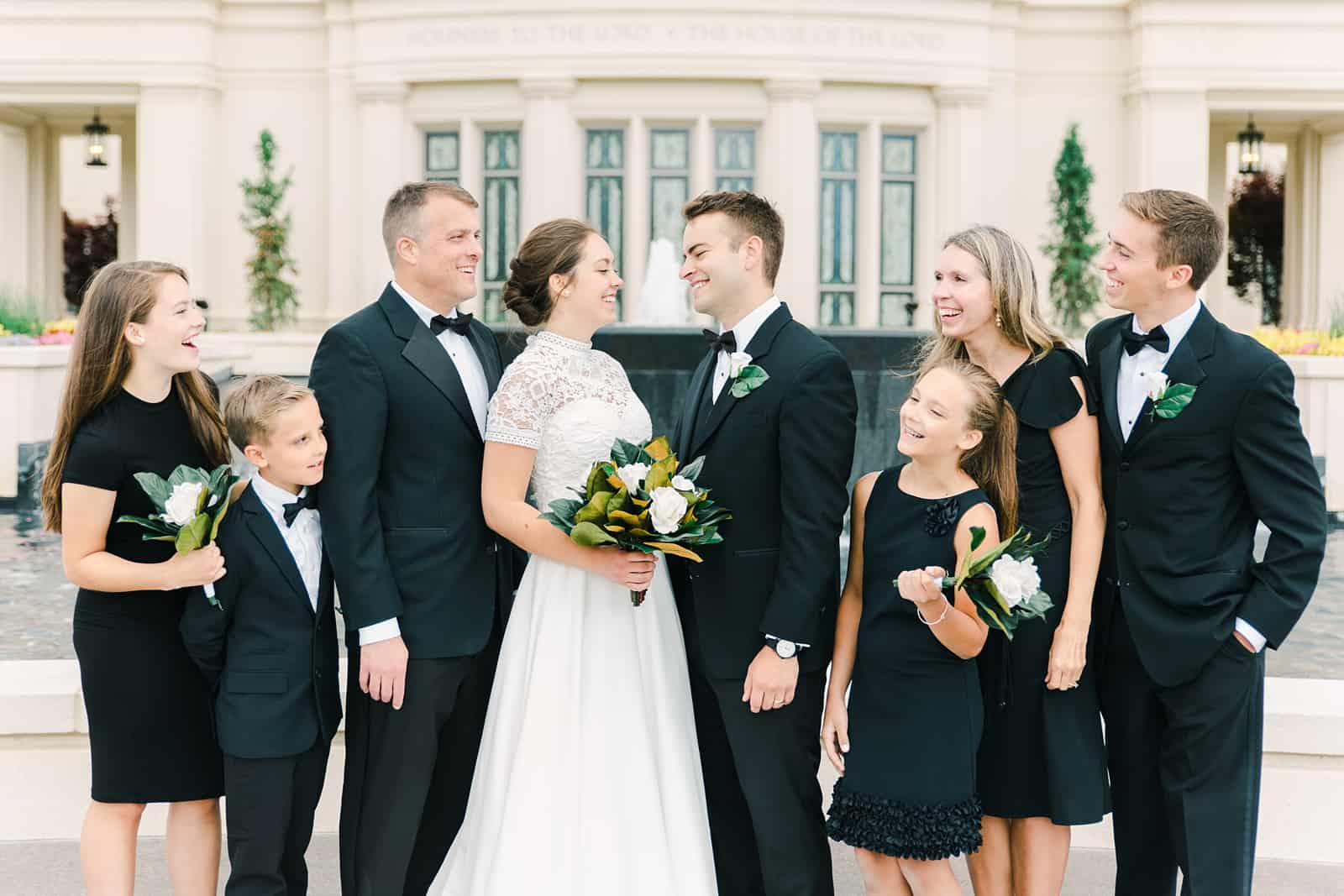 Payson Utah Temple wedding, family pictures in classic black dresses and tuxedos