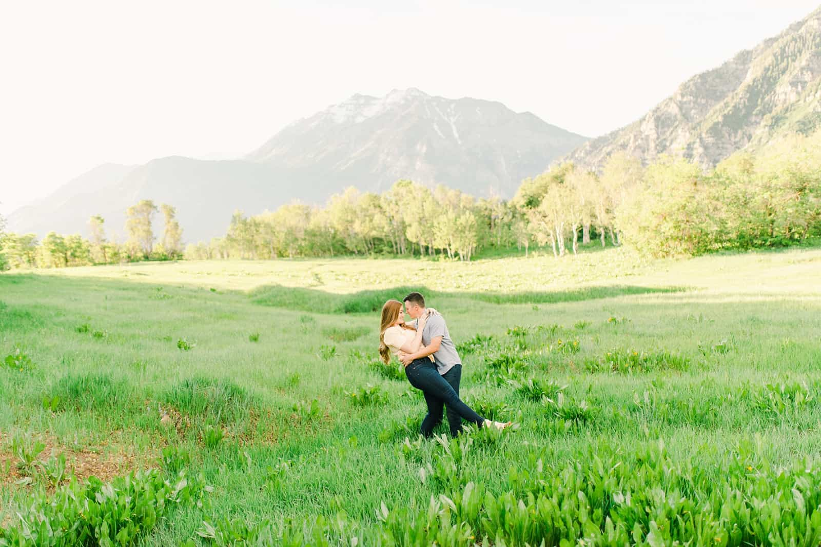 Provo Canyon wildflowers field engagement session, Utah wedding photography, engaged couple