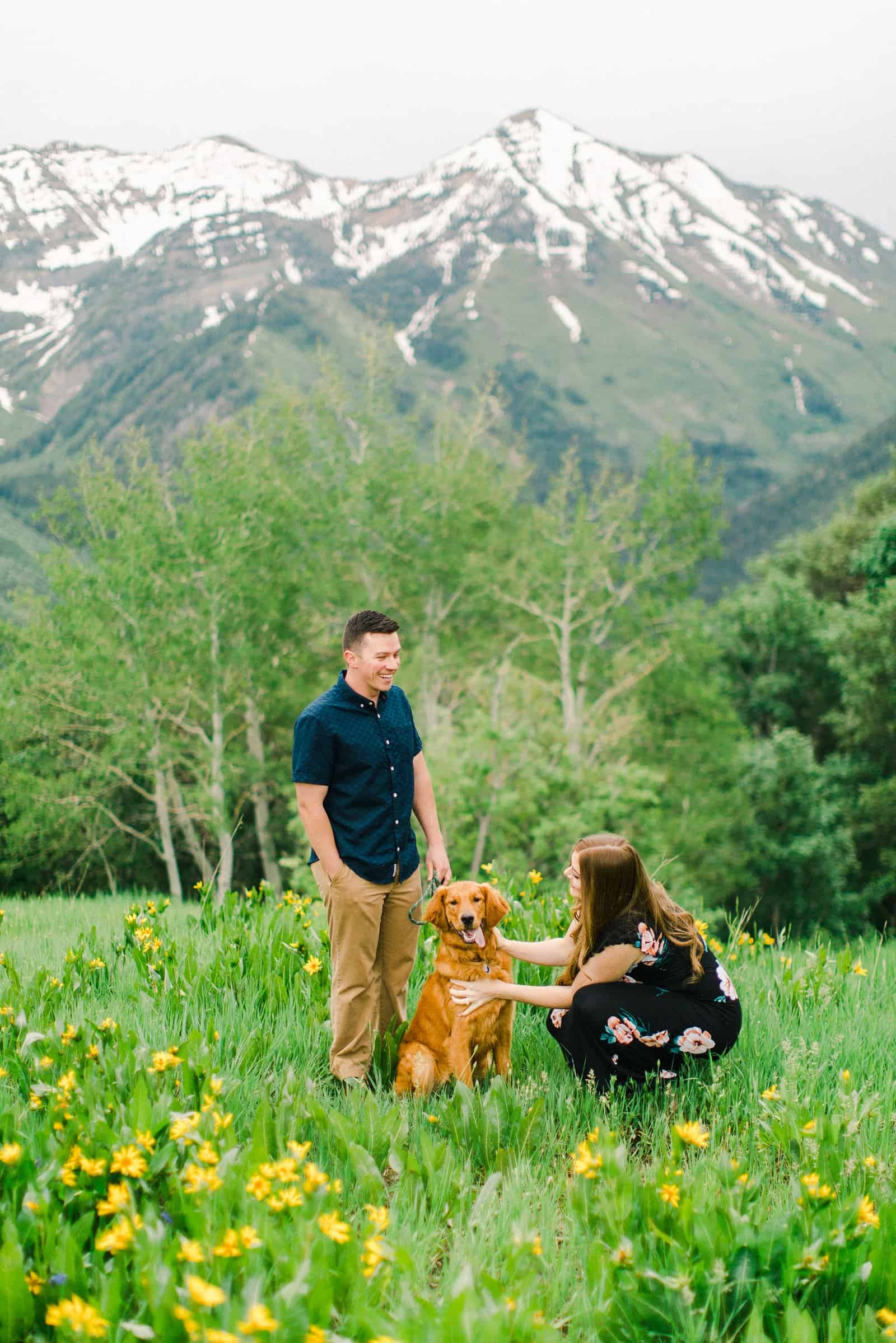 Provo Canyon wildflowers field engagement session, Utah wedding photography, engaged couple with their dog