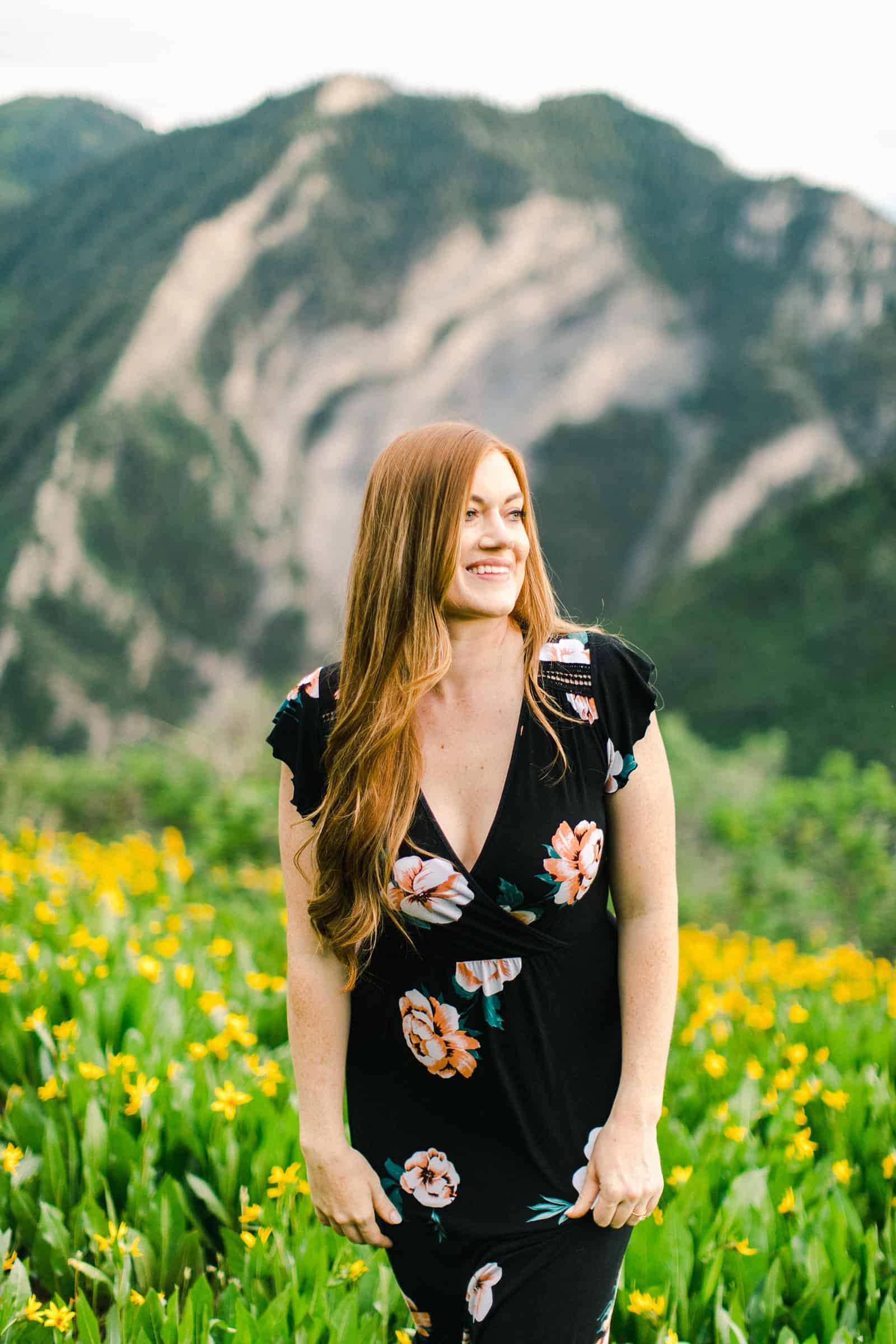 Provo Canyon wildflowers field engagement session, Utah wedding photography, bride in black floral dress