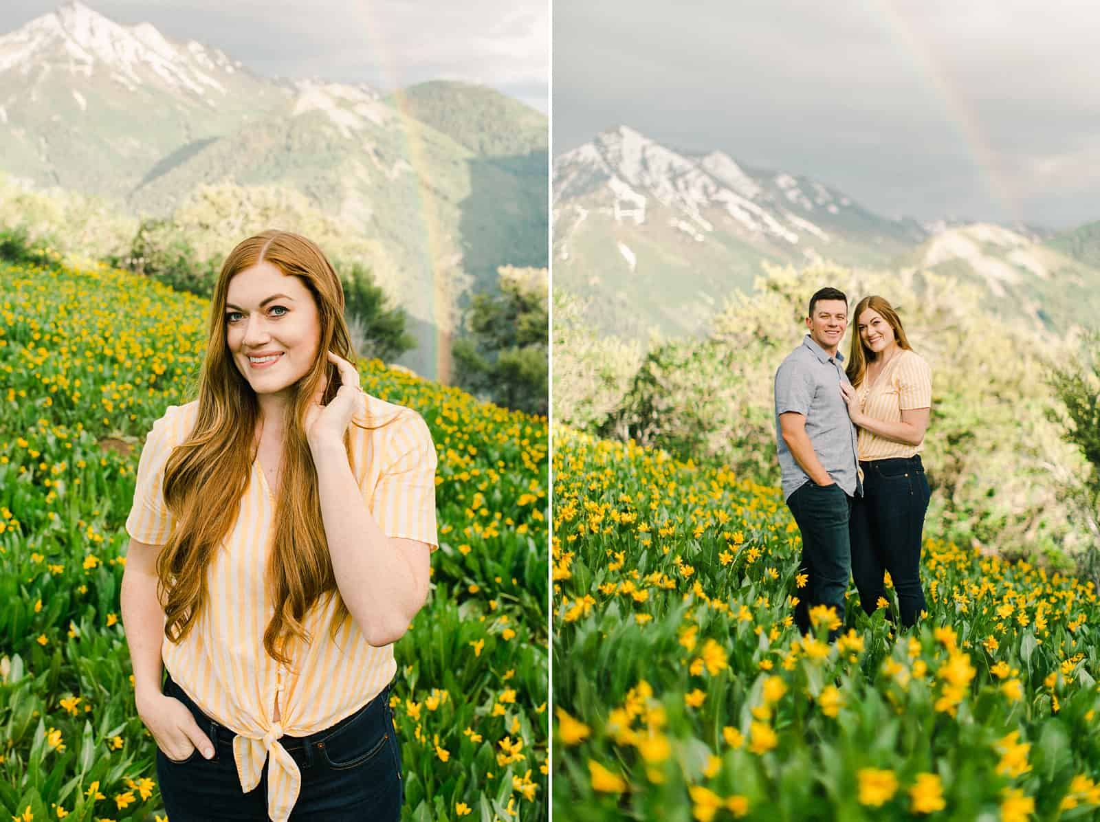 Provo Canyon wildflowers field engagement session, Utah wedding photography, engaged couple in yellow flowers and mountains with rainbow in background, bride in peach shirt with front tie and jeans