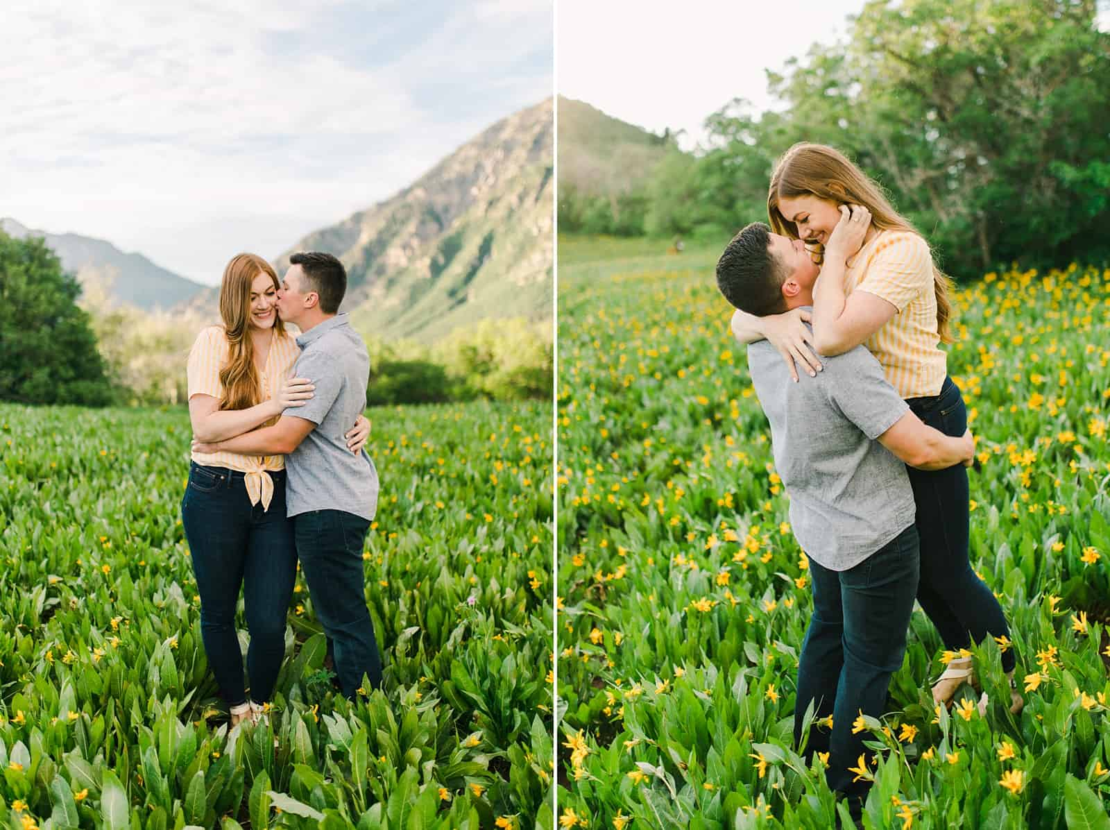 Provo Canyon wildflowers field engagement session, Utah wedding photography, engaged couple in yellow flowers and mountains
