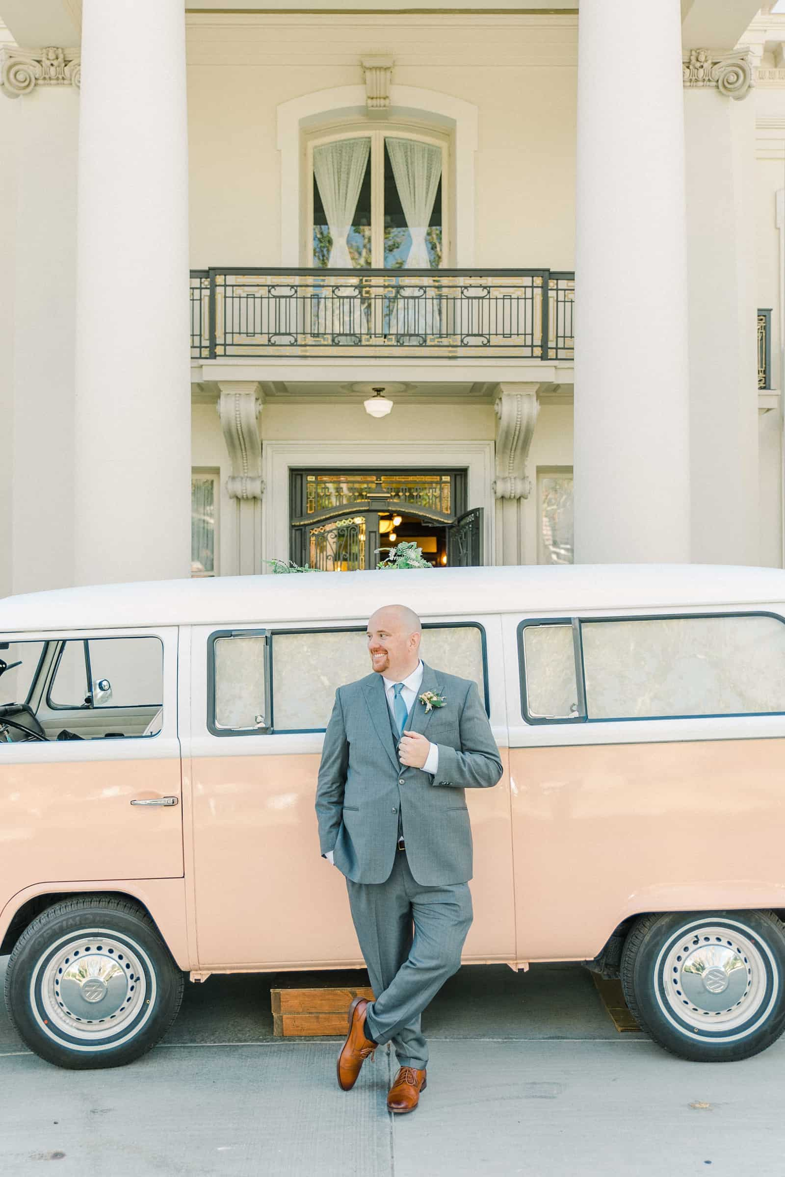 Thomas S. Monson Center Wedding, Salt Lake LDS Temple Wedding, Utah wedding photography. groom with vintage pink VW photo bus