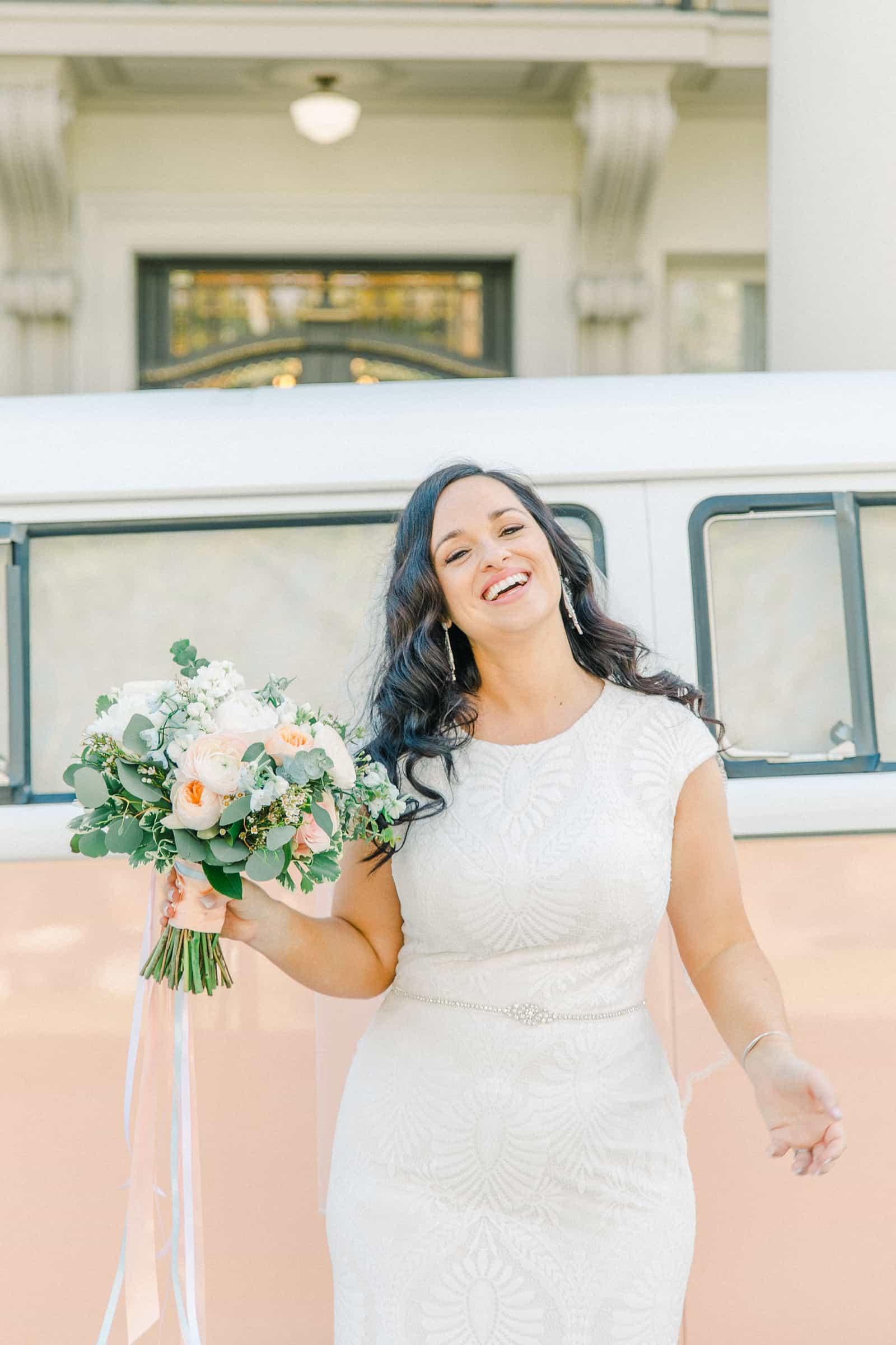 Thomas S. Monson Center Wedding, Salt Lake LDS Temple Wedding, Utah wedding photography. bride with vintage pink VW photo bus