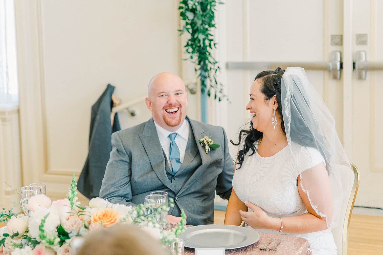 Thomas S. Monson Center Wedding, Salt Lake LDS Temple Wedding, Utah wedding photography, reception decor, sequin tablecloth, pink and white wedding flowers tablescape centerpiece