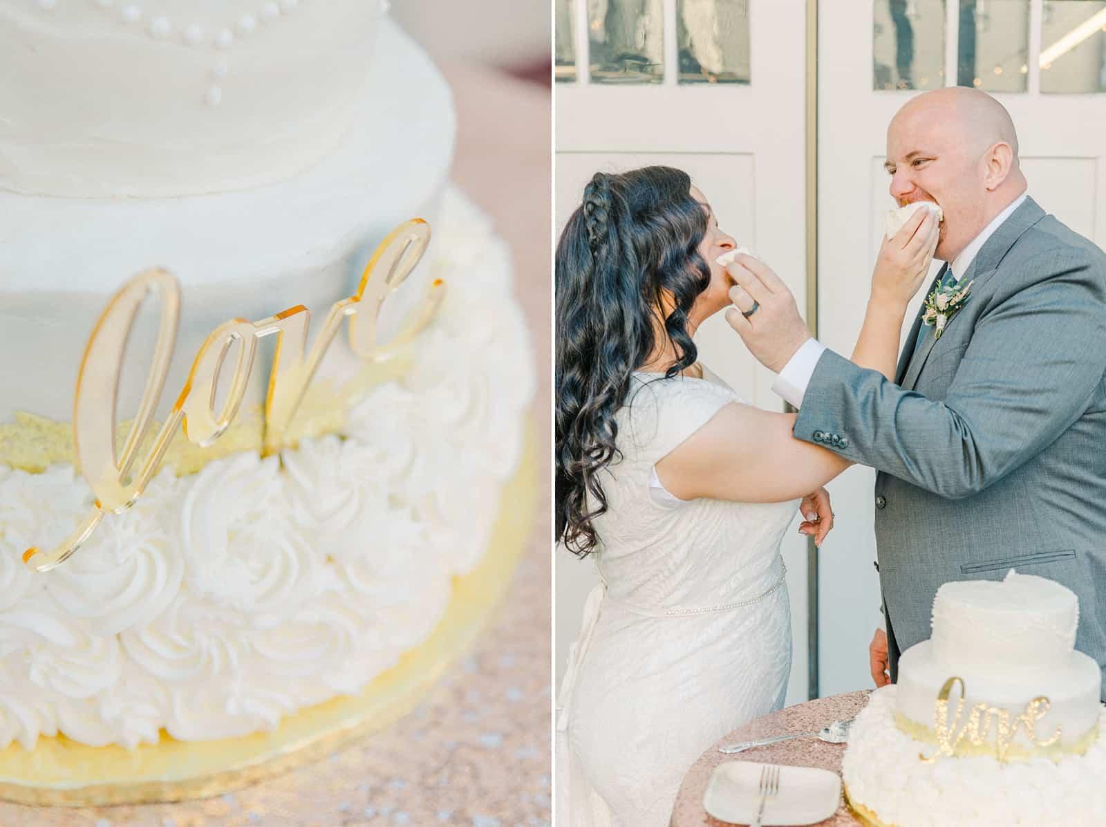 Thomas S. Monson Center Wedding, Salt Lake LDS Temple Wedding, Utah wedding photography. bride and groom cut cake