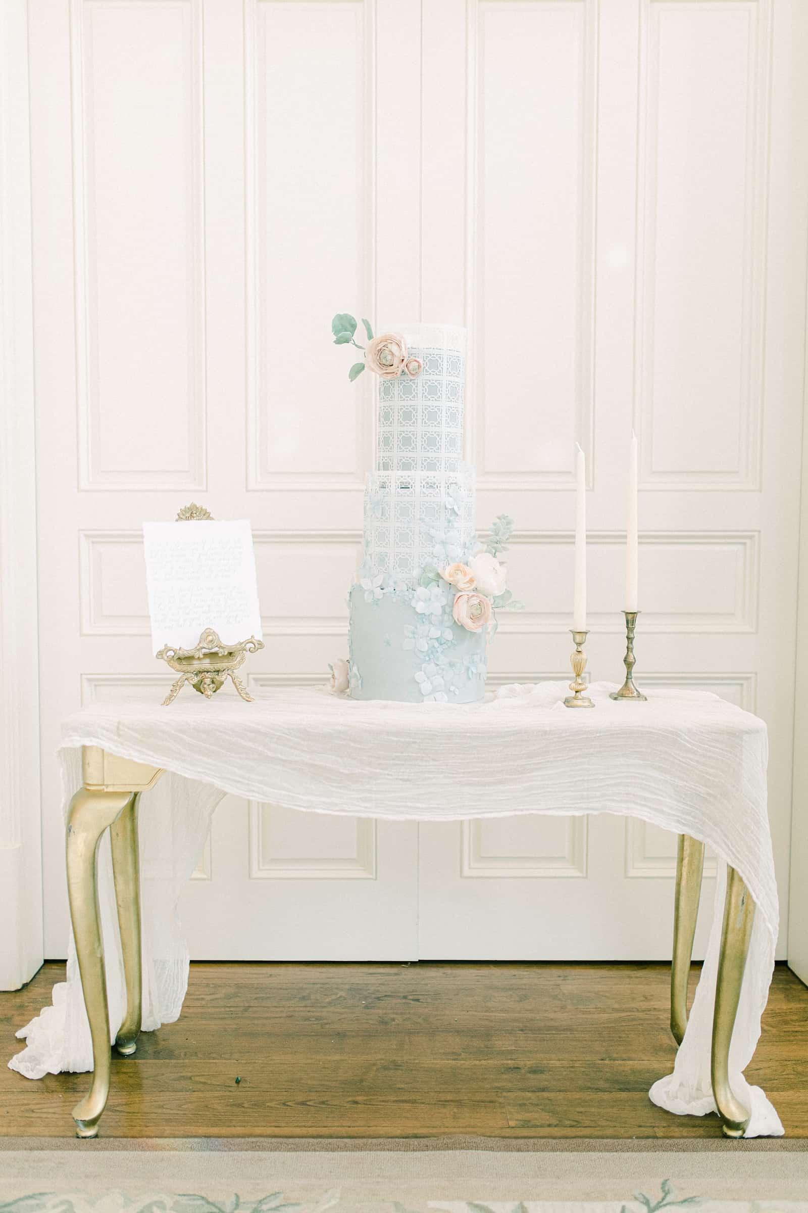 Cinderella light blue wedding cake with sugar flowers