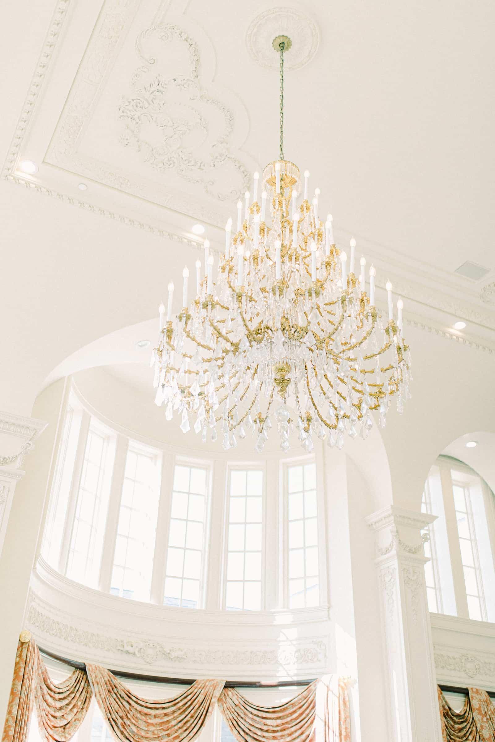 Ballroom chandelier at the Olana, destination wedding venue