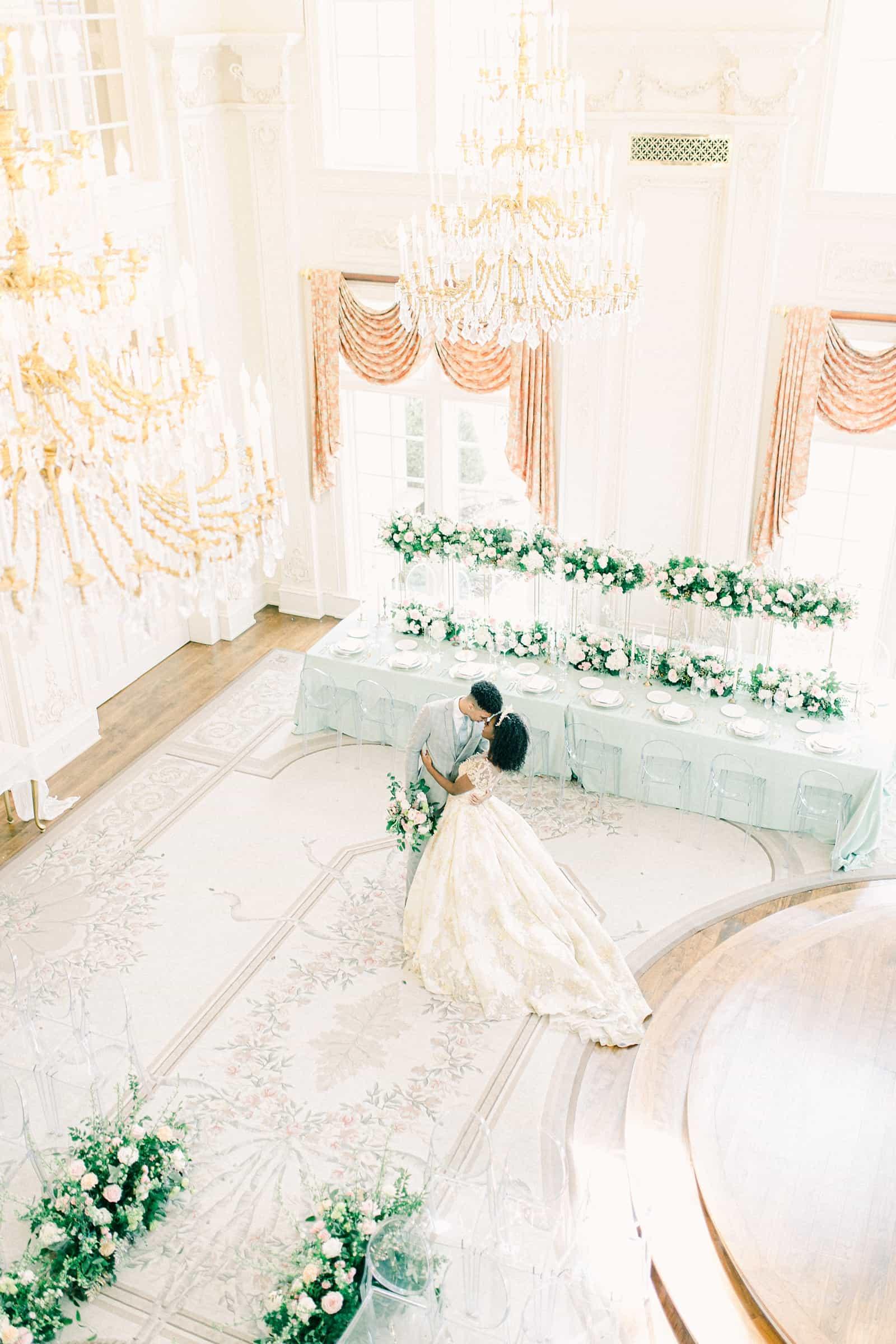Bride and groom ballroom wedding with light blue at the Olana in Dallas, Texas, Disney princess wedding