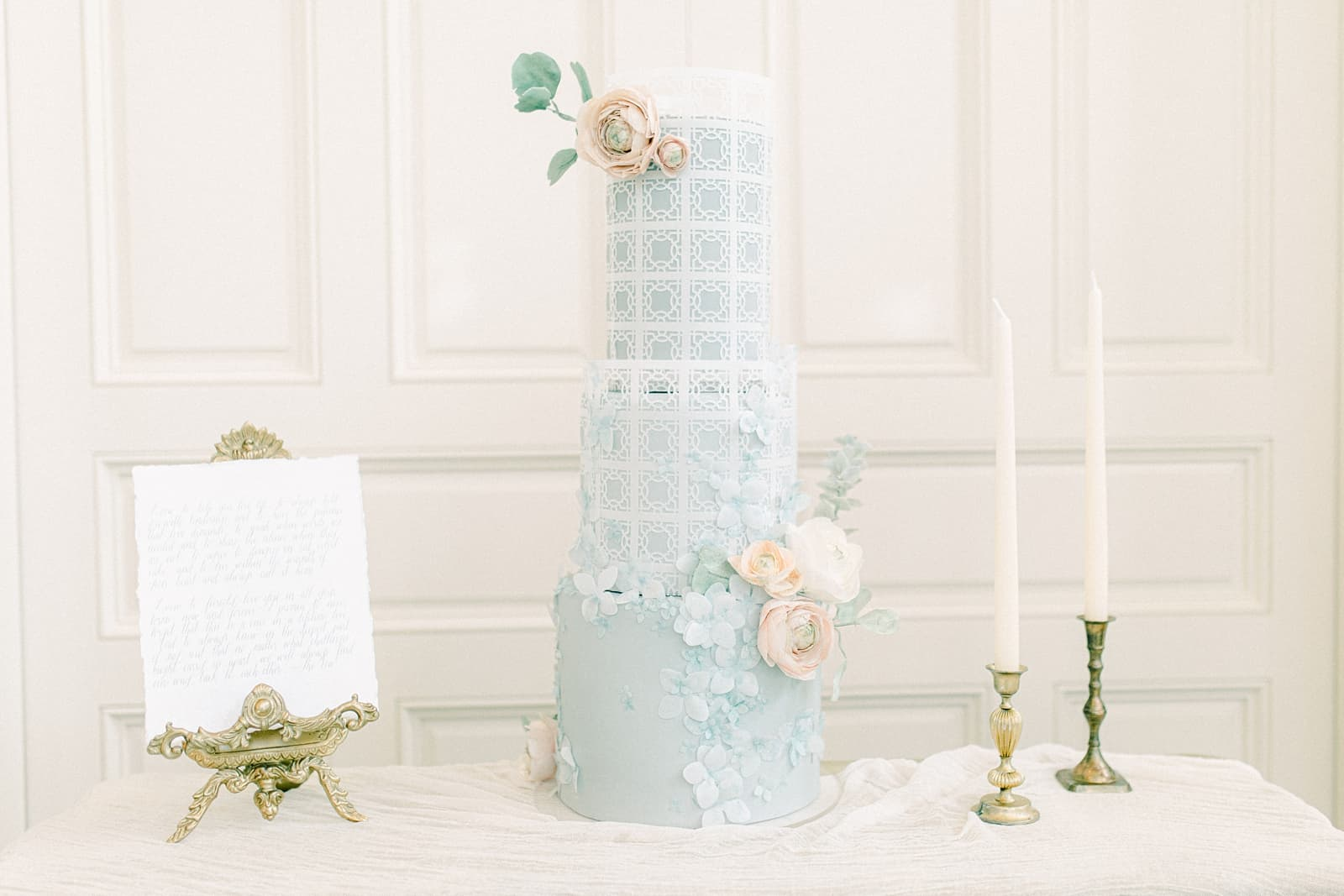 Cinderella light blue wedding cake with sugar flowers, ballroom wedding, Disney princess wedding