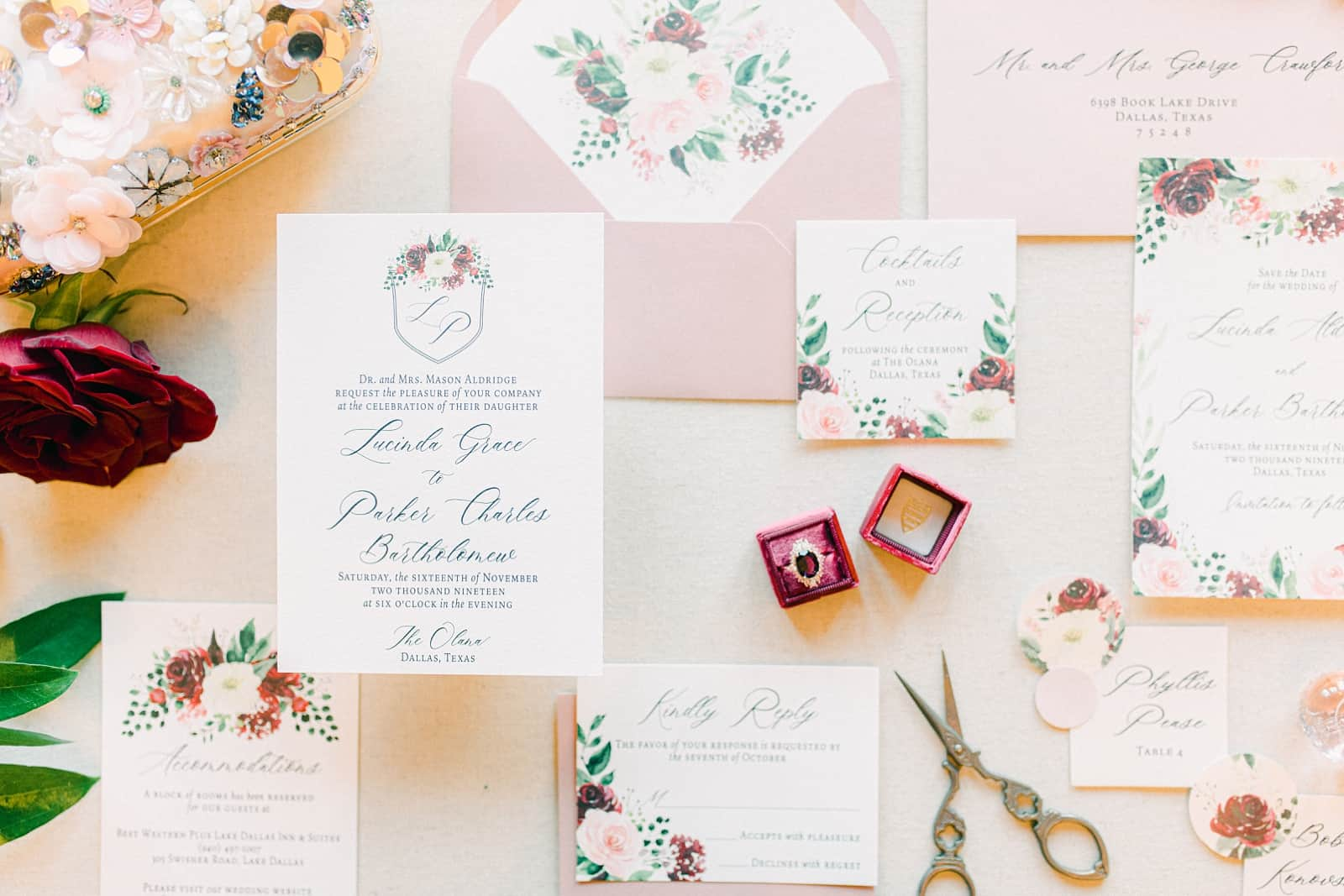 Pink and red floral wedding invitations, modern invitation suite