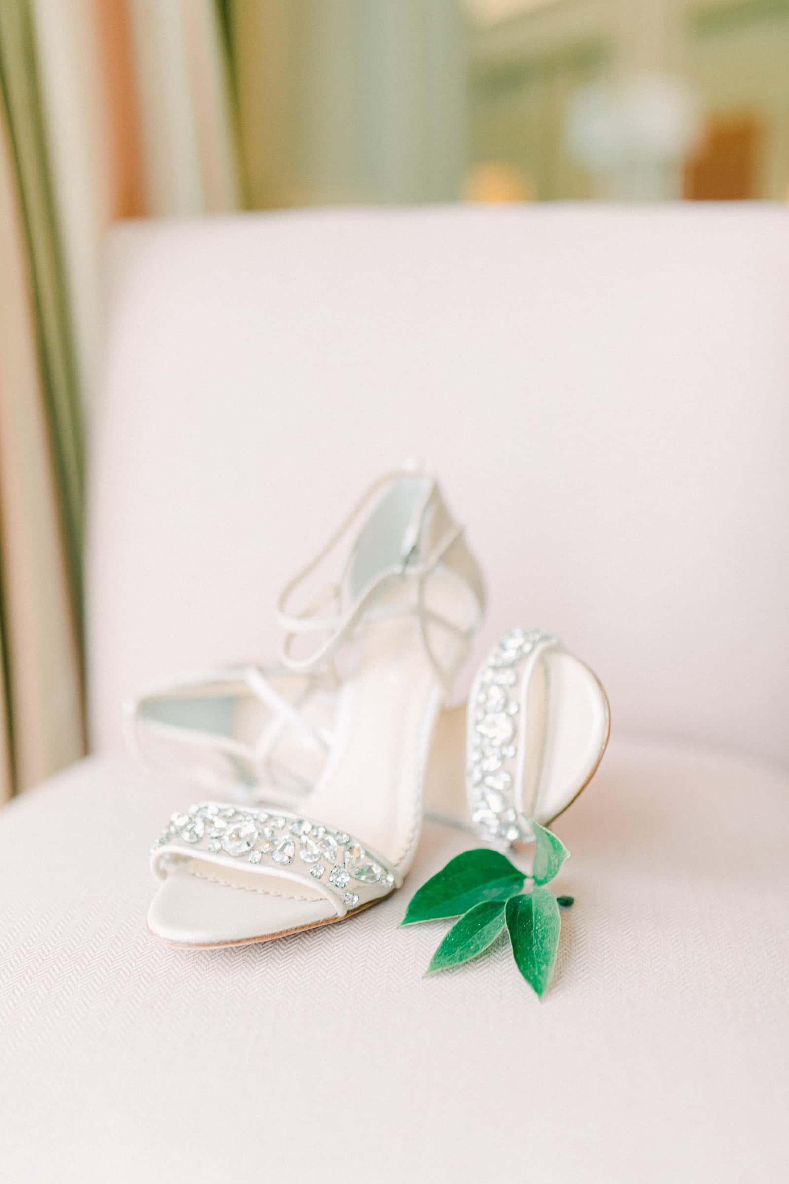 Jeweled bride's wedding shoes