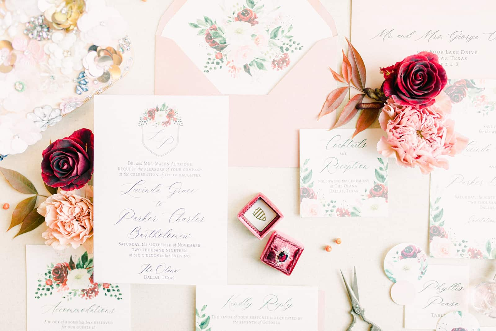 Pink and red floral wedding invitations, modern invitation suite, magenta ring box with vintage ruby wedding ring