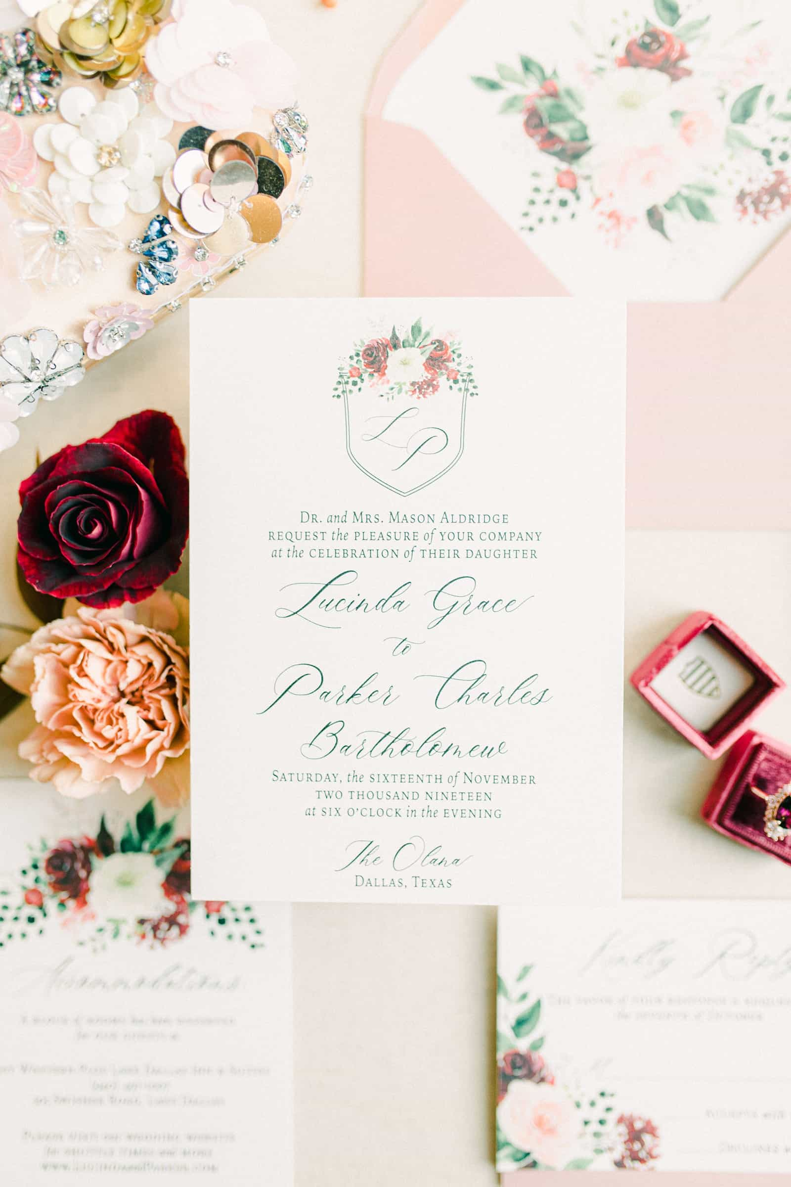 Monogrammed pink and red floral wedding invitations, modern invitation suite