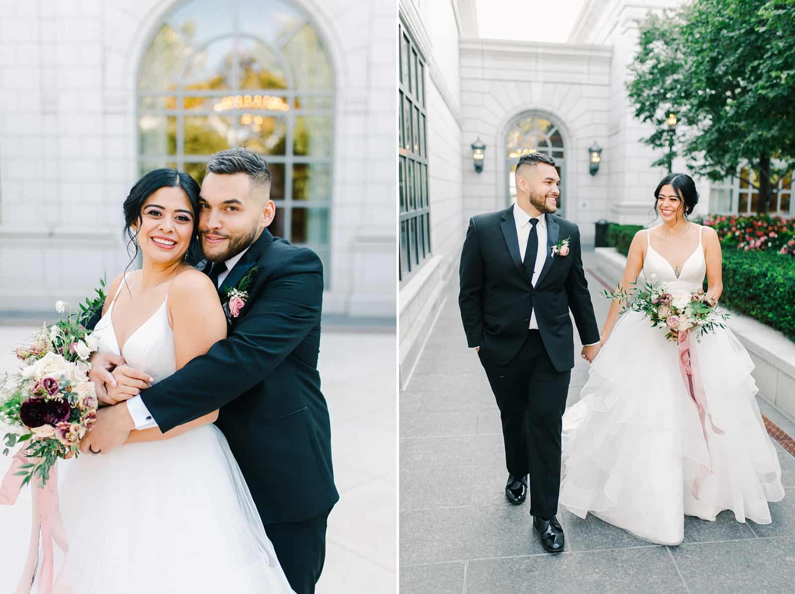 Bride and groom pose together outside the Grand America