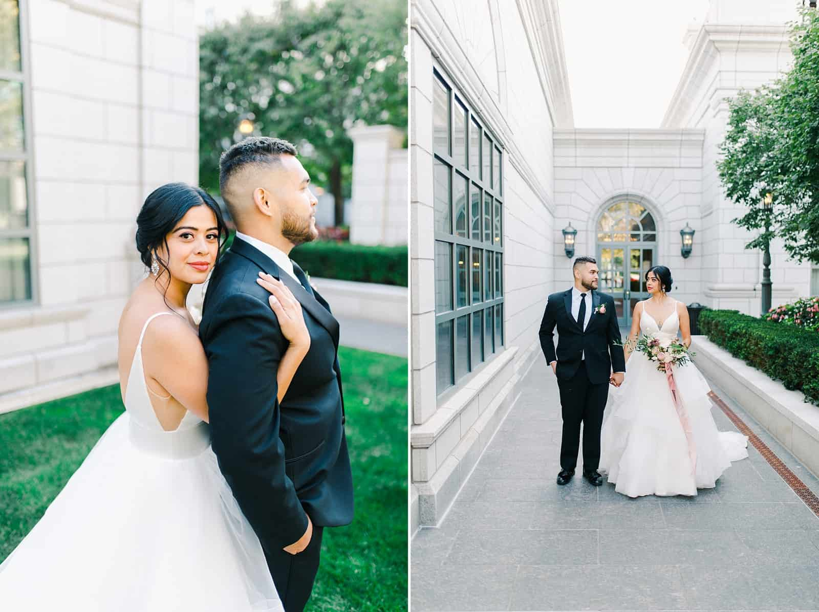 Bride and groom walking together inside the Grand America hotel courtyard