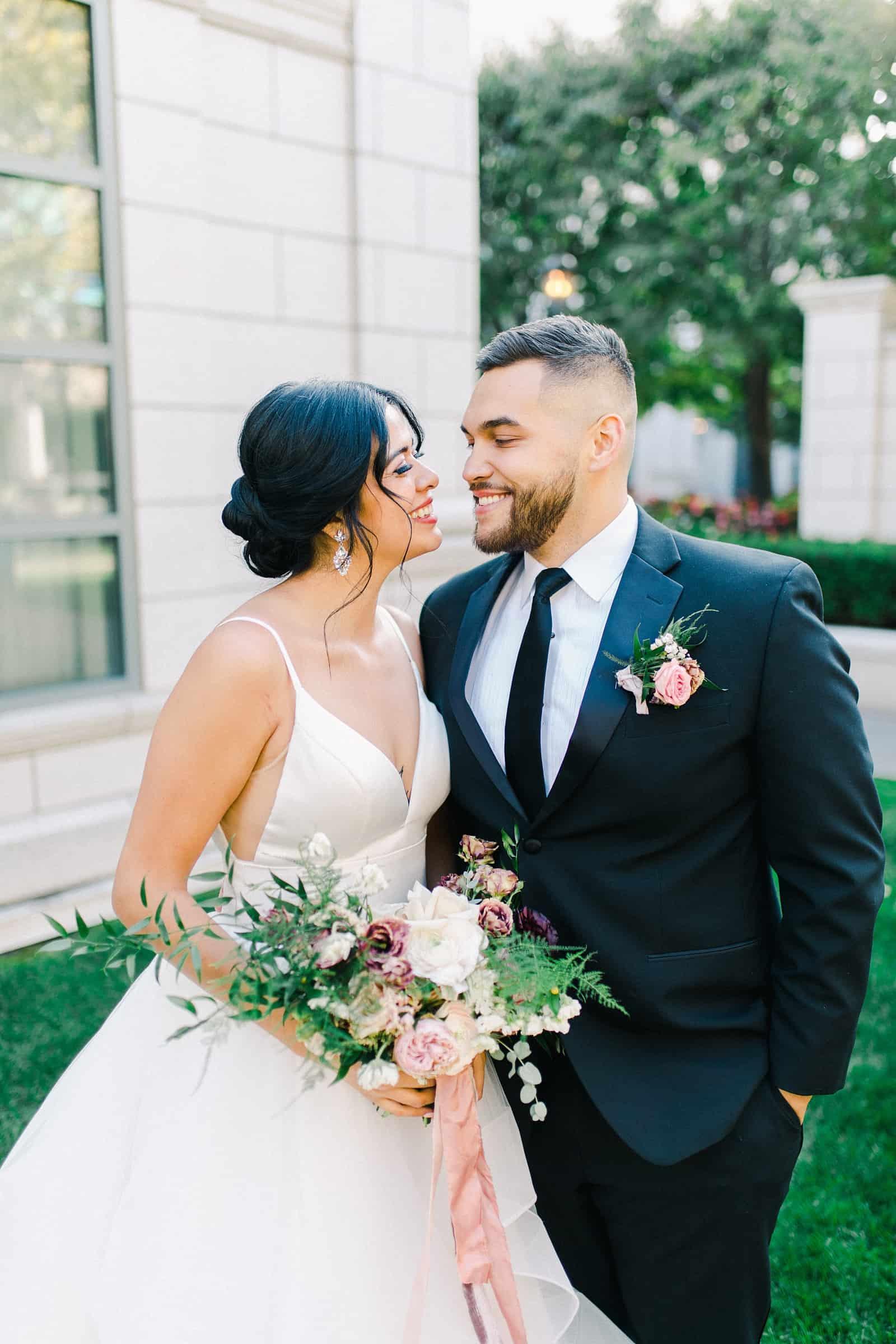 Bride and groom elegant hotel destination wedding
