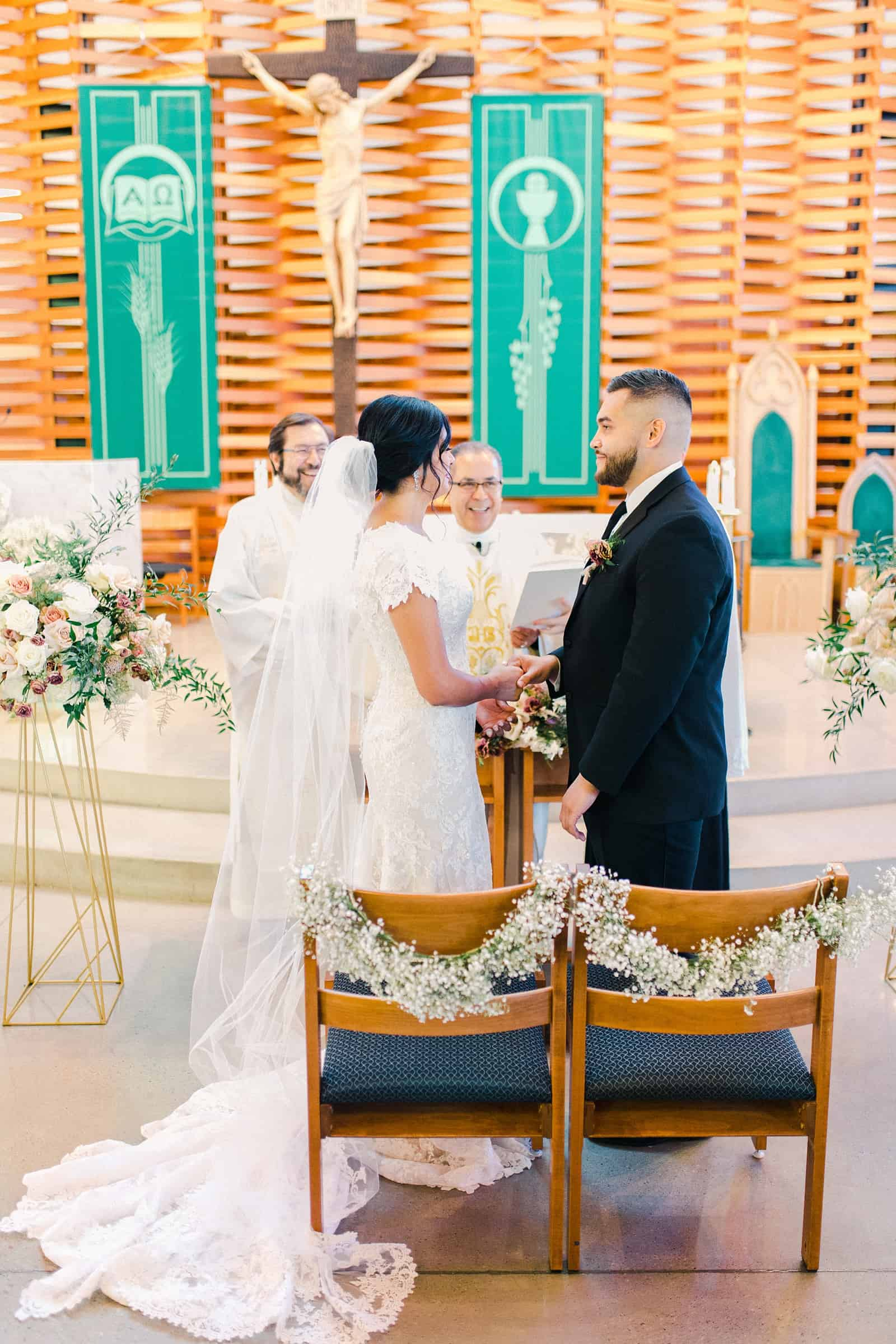 bride and groom during traditional church wedding