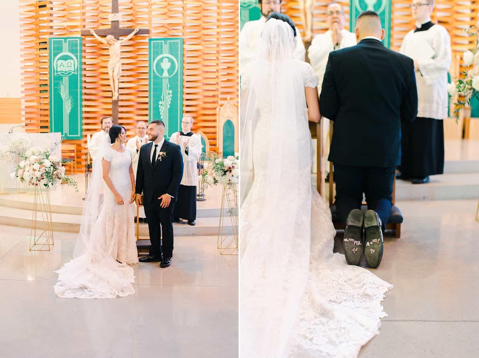 Chapel cathedral ceremony in Utah, bride and groom kneeling