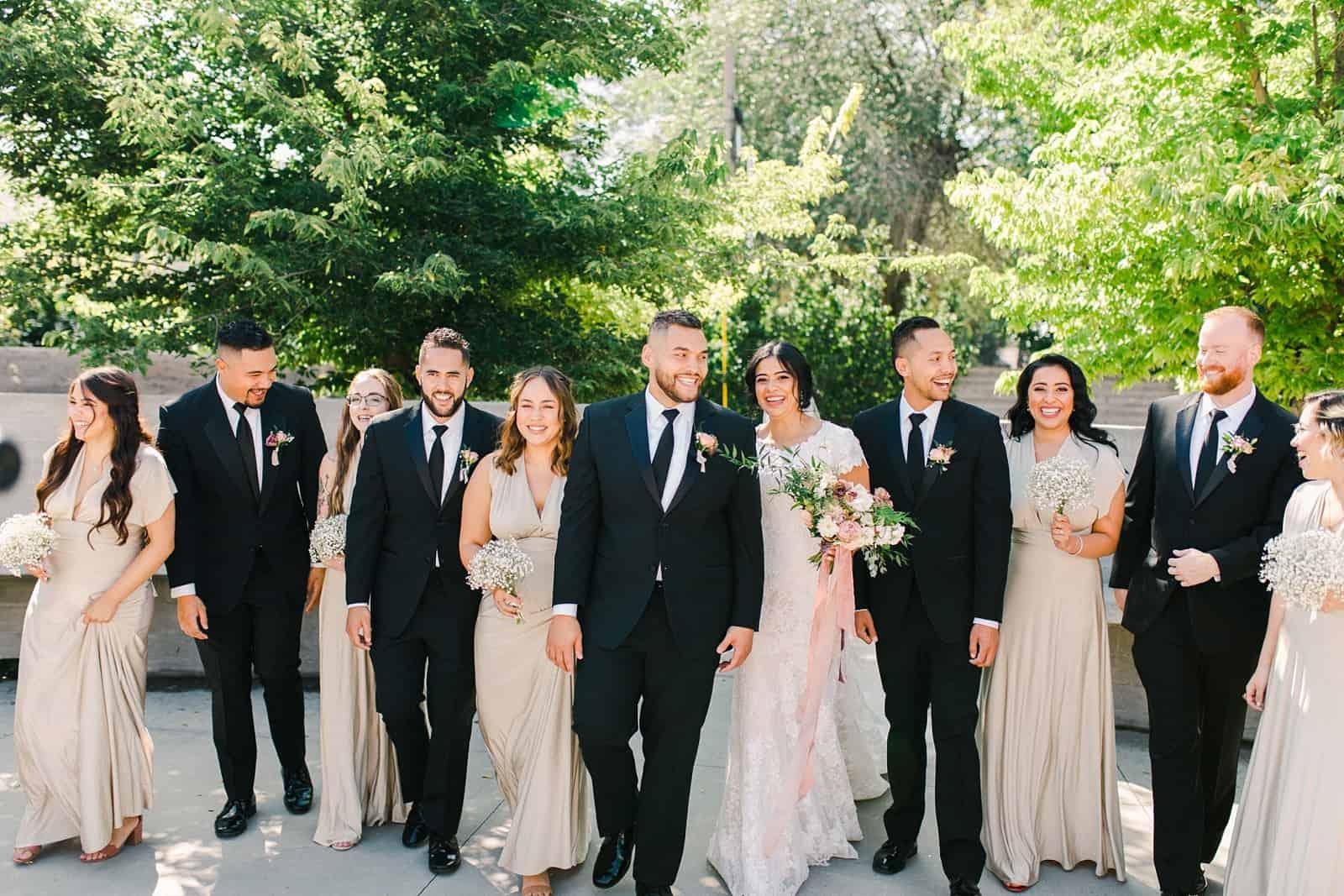 Bride and groom with bridal party in Utah wedding