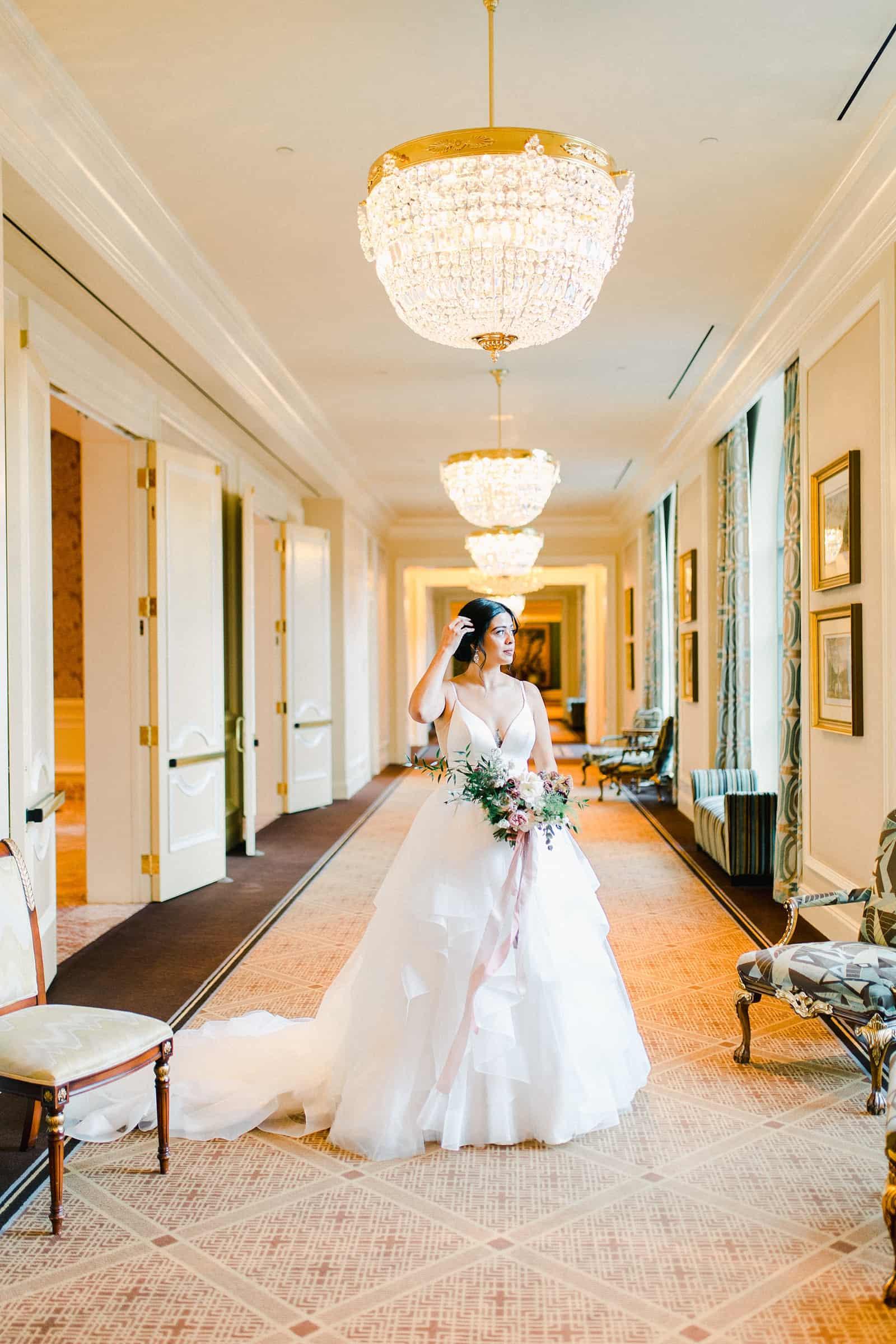 Bride inside the Grand America hotel in Salt Lake City, utah