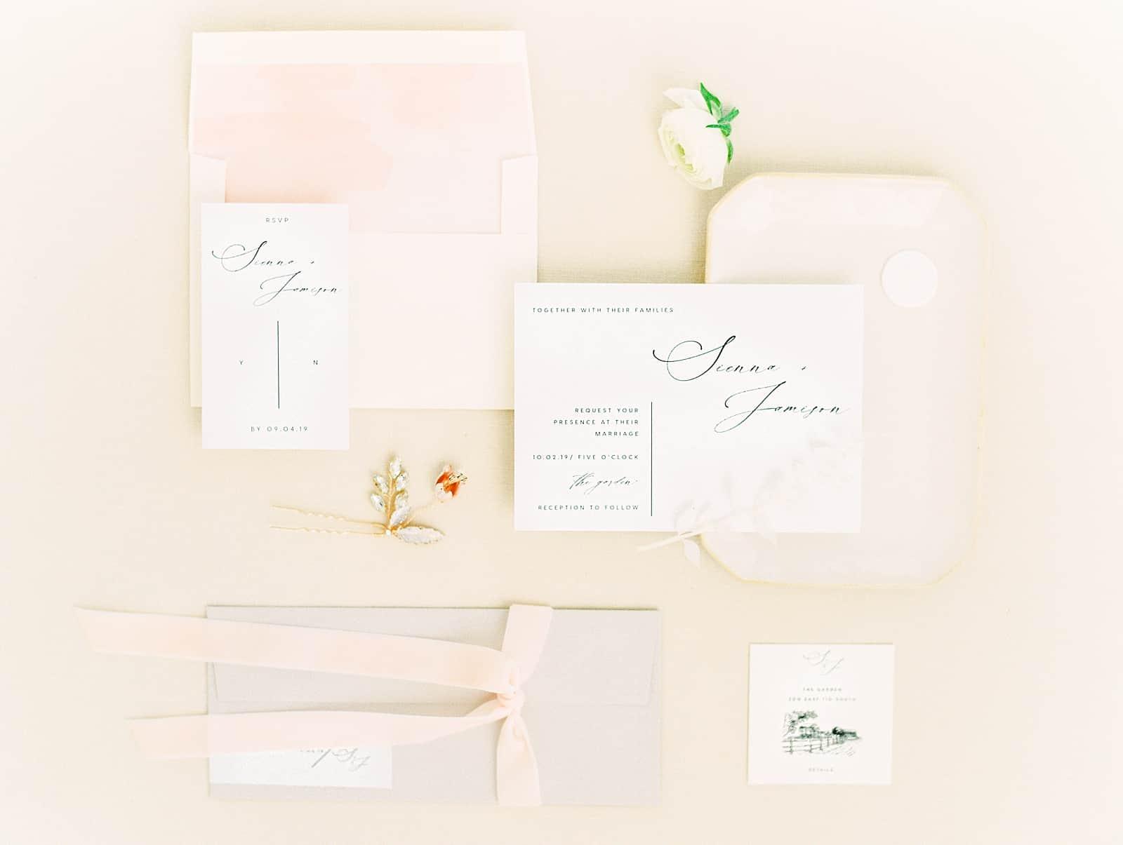 Modern minimalist wedding invitations with calligraphy